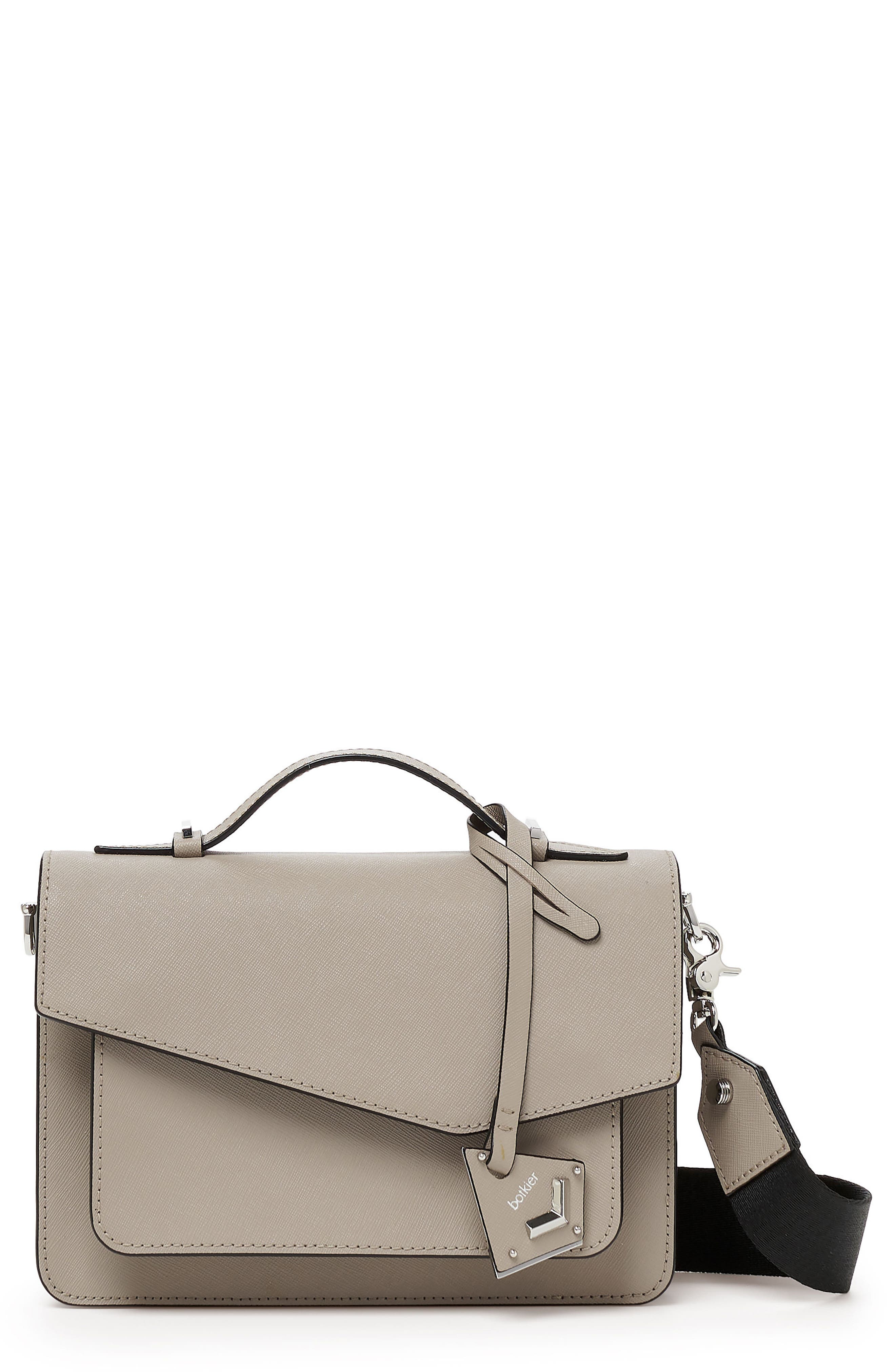 COBBLE HILL LEATHER CROSSBODY BAG - GREY