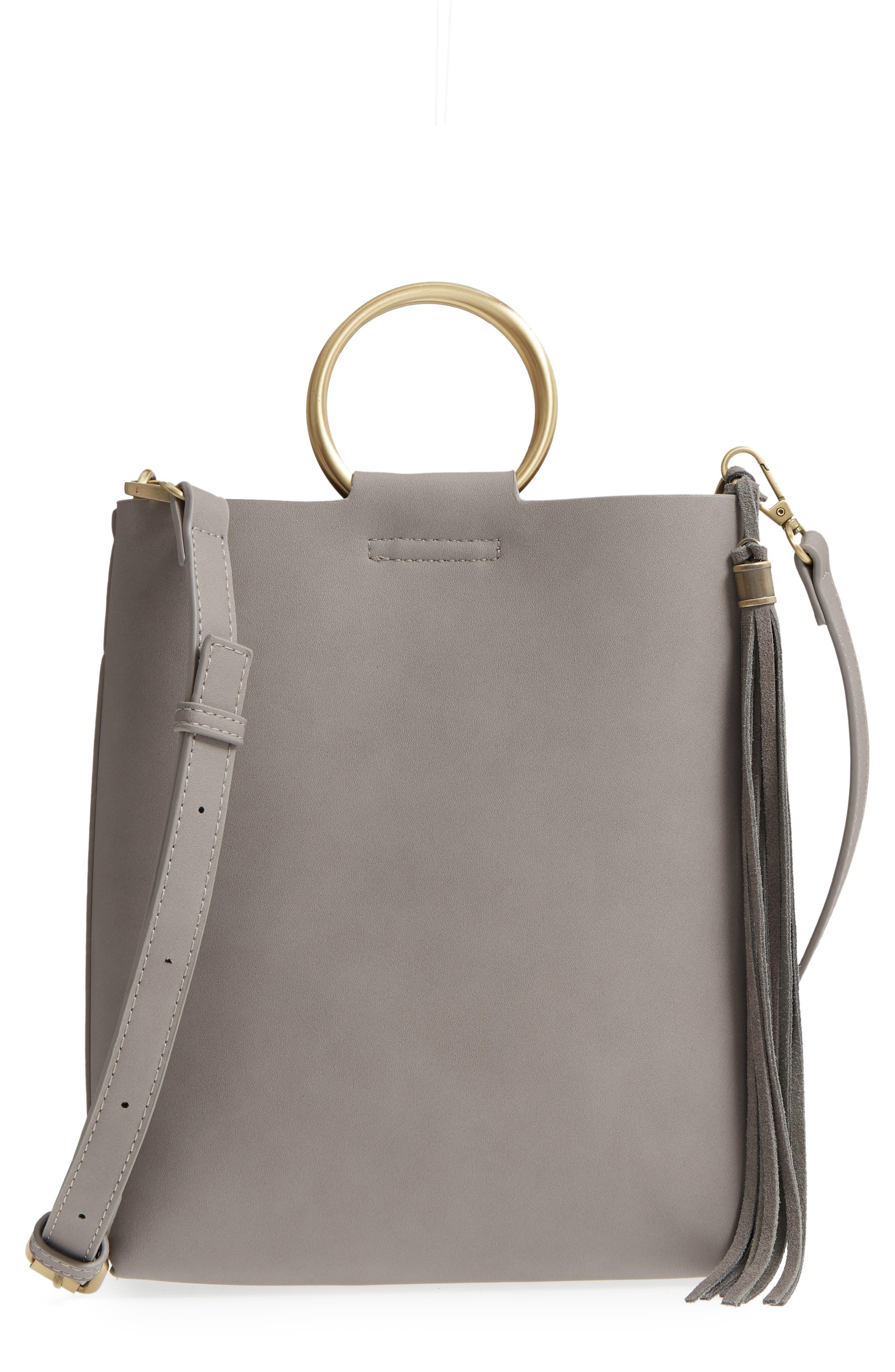 Street Level Metal Handle Faux Leather Crossbody Bag