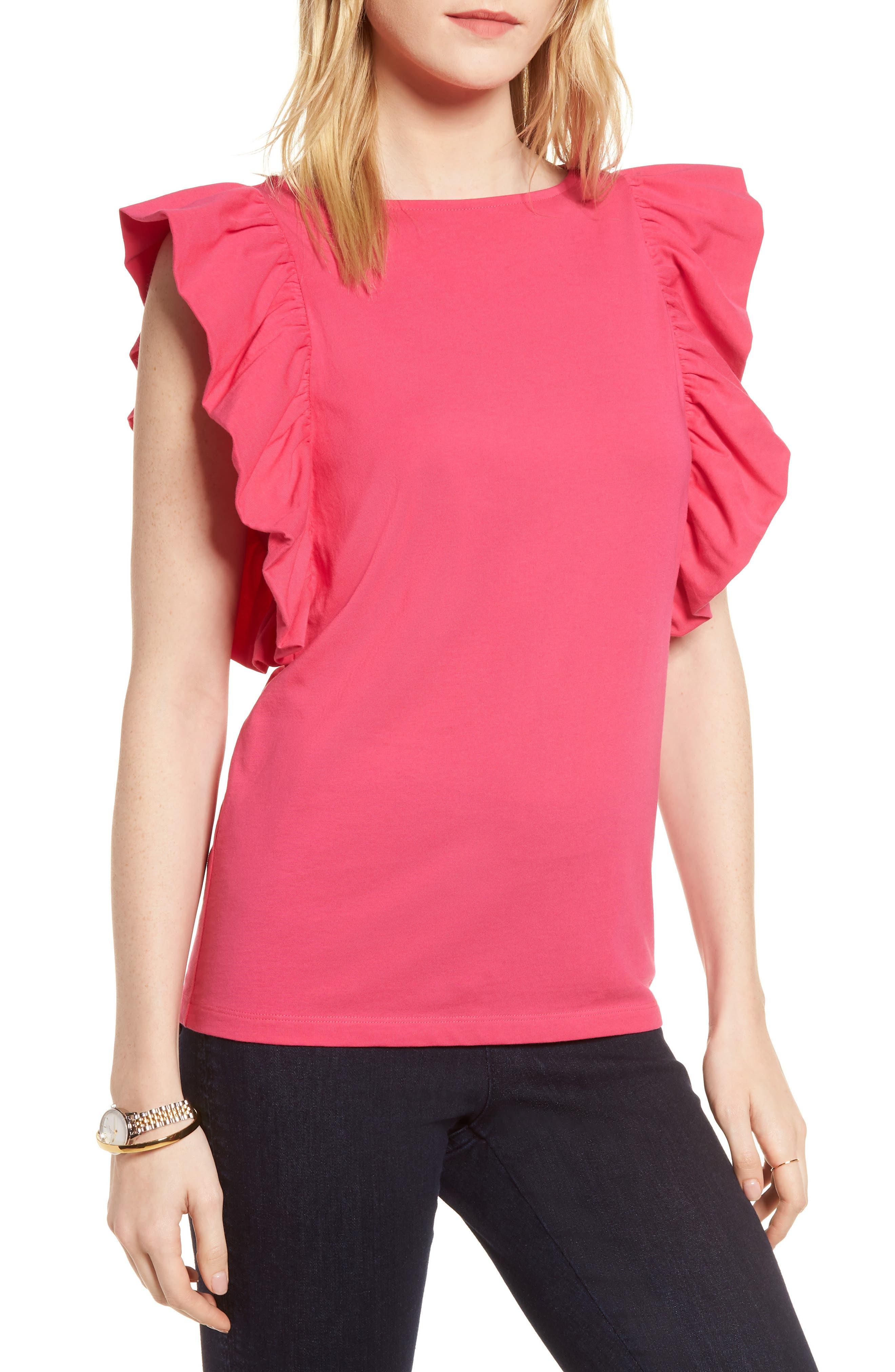Ruffle Sleeve Tee,                         Main,                         color, Pink Cabaret