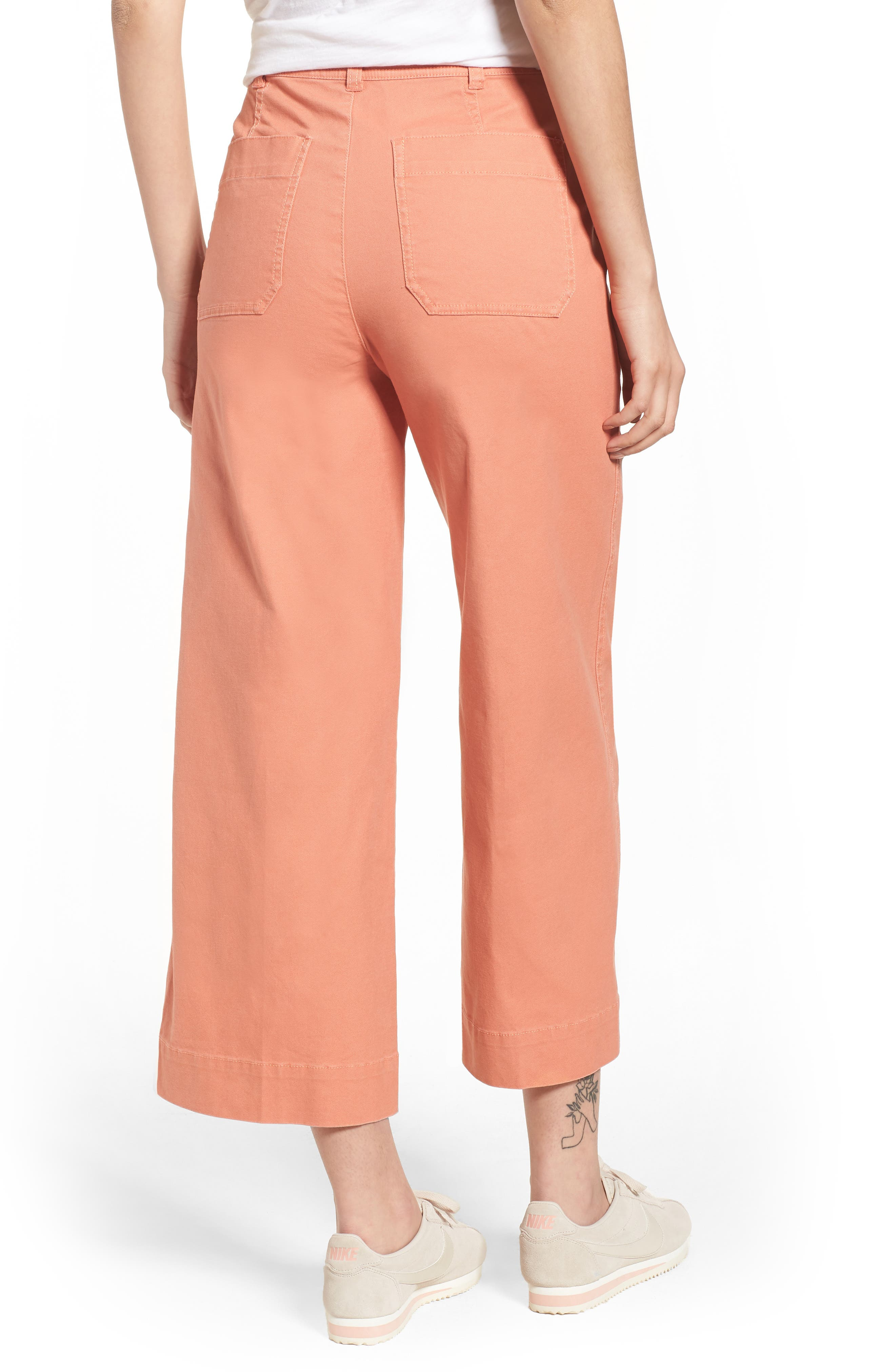 Emmett Crop Wide Leg Pants,                             Alternate thumbnail 2, color,                             Dried Coral