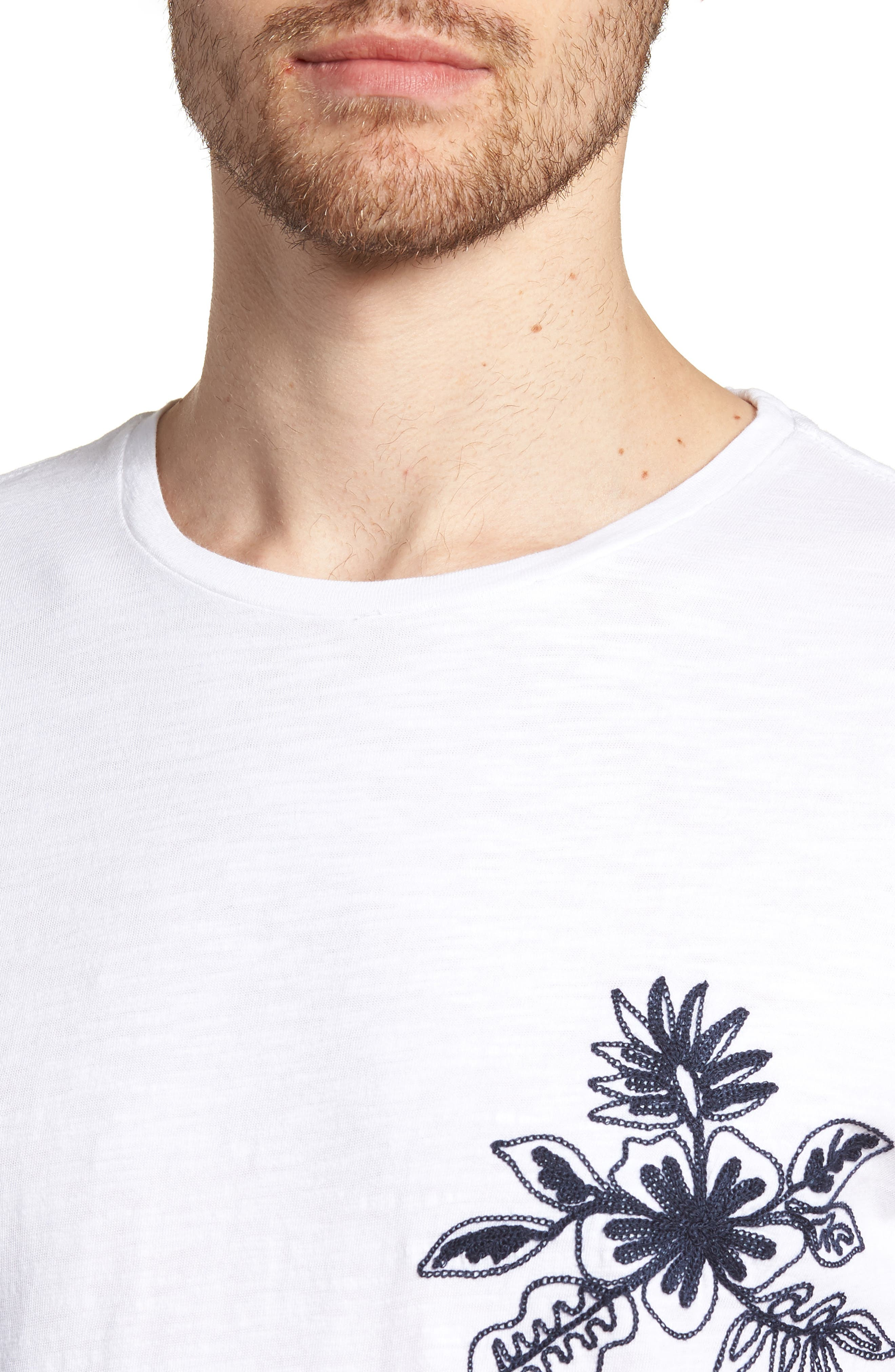 Embroidered T-Shirt,                             Alternate thumbnail 4, color,                             Floral Embroidery