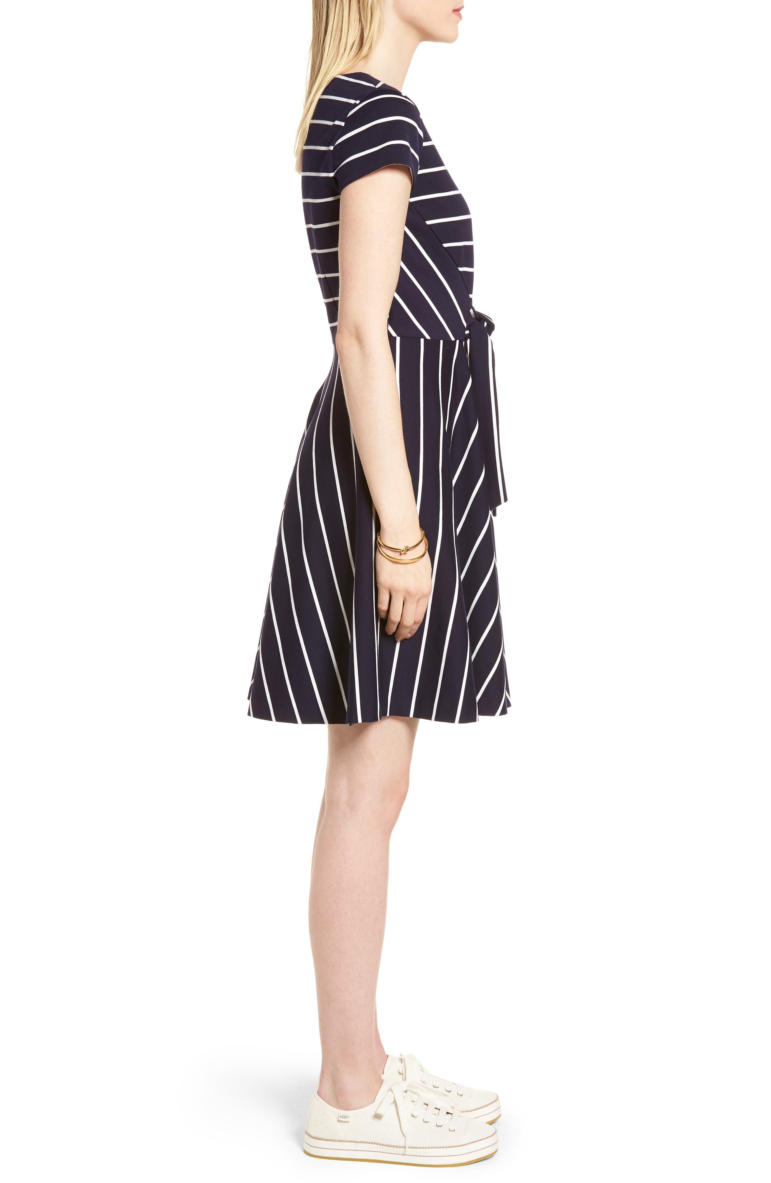Stripe Ponte Fit & Flare Dress,                             Alternate thumbnail 3, color,                             Navy- White Stripe