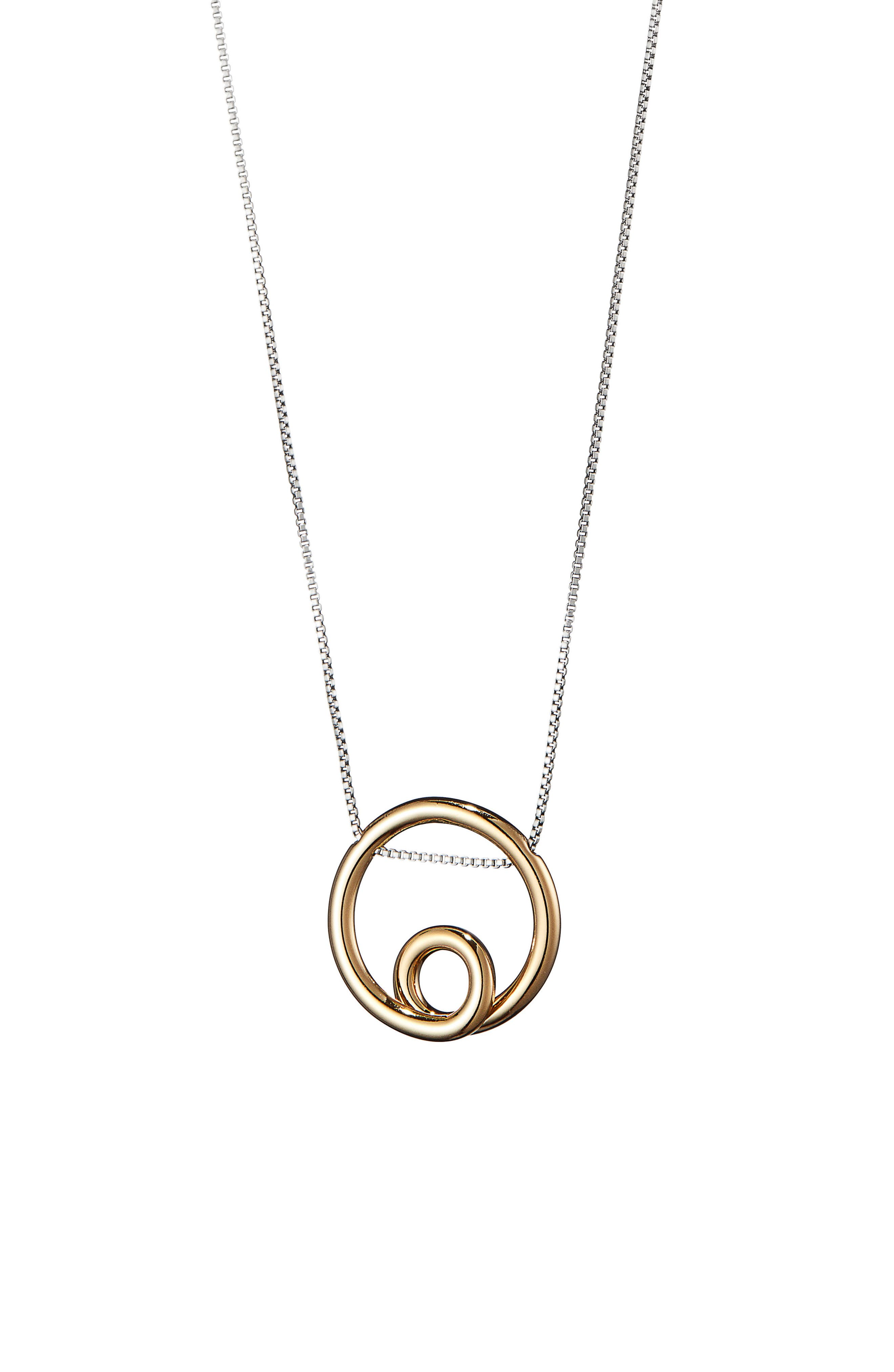 Mini Loop Pendant Necklace,                             Alternate thumbnail 3, color,                             Two Tone