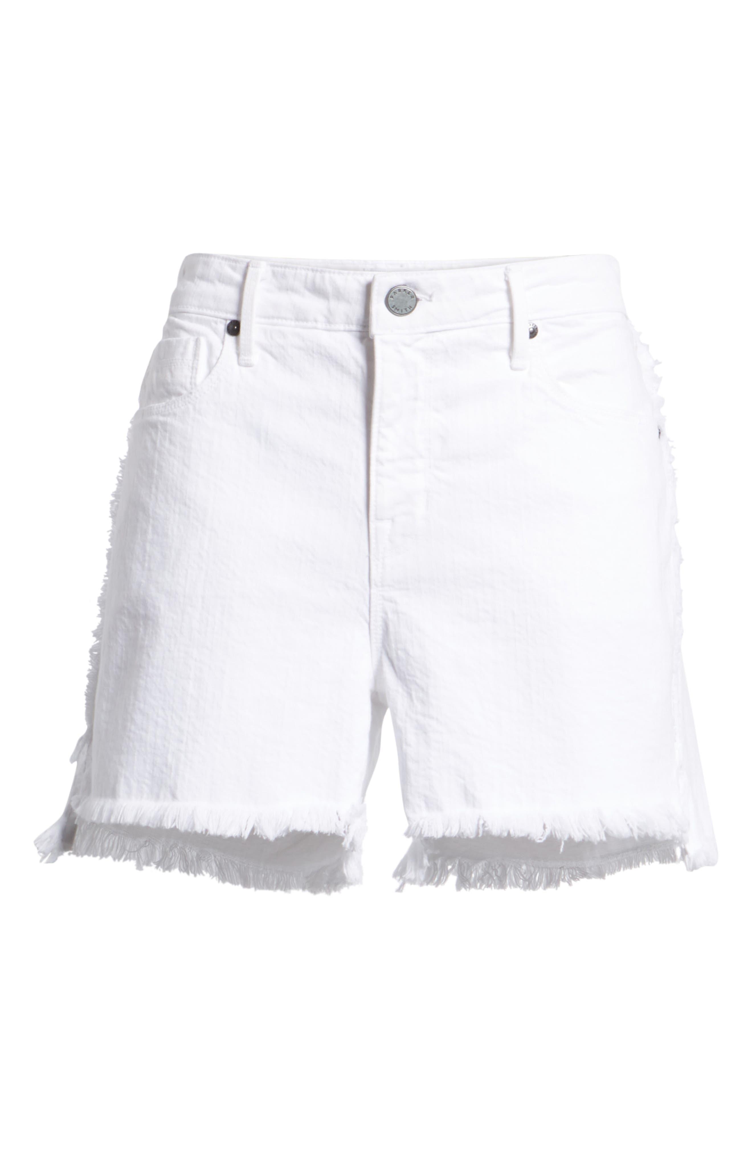 Step Hem Frayed Denim Shorts,                             Alternate thumbnail 7, color,                             Blanc
