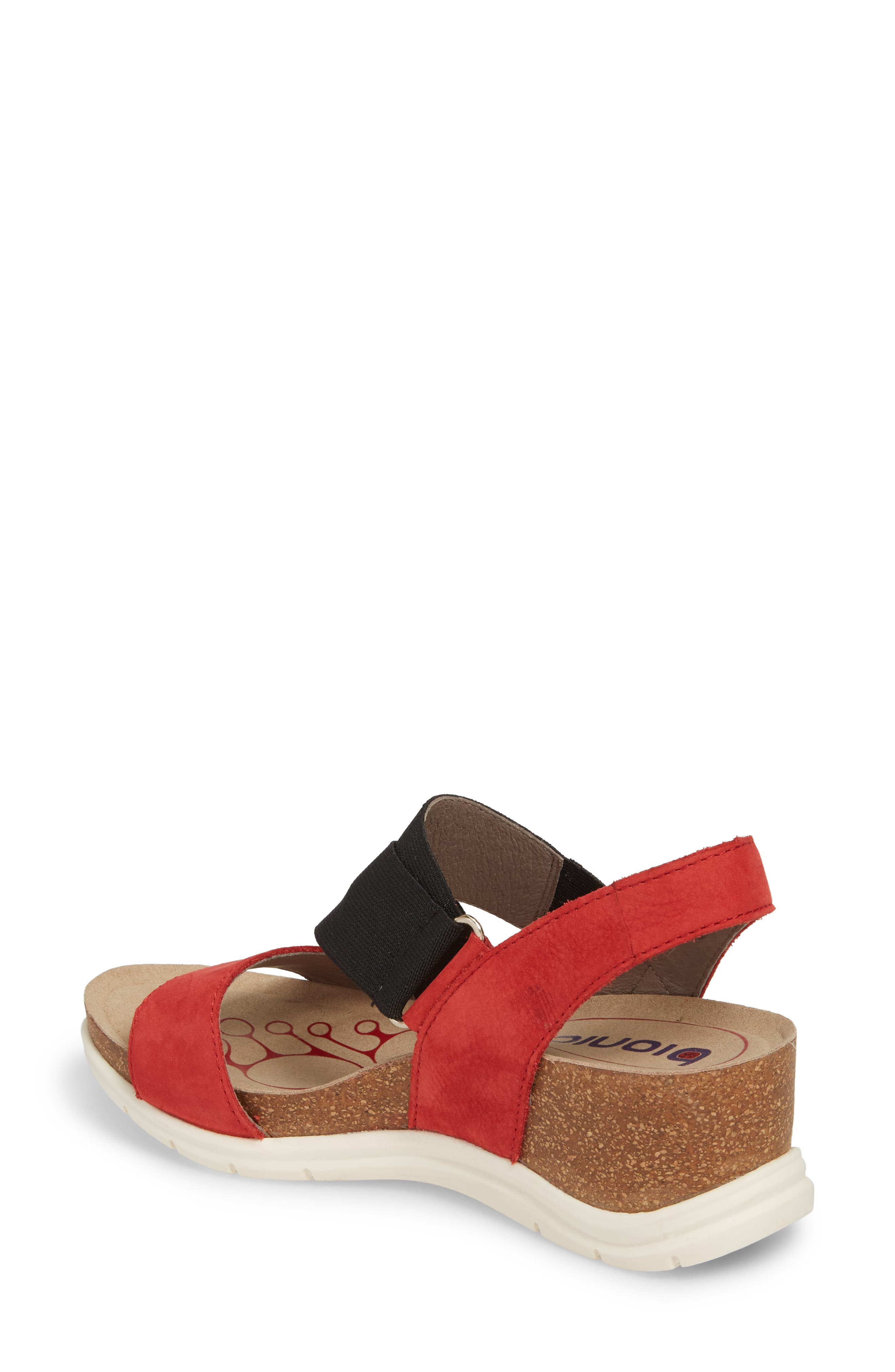 Paisley Wedge Sandal,                             Alternate thumbnail 2, color,                             Coral Leather