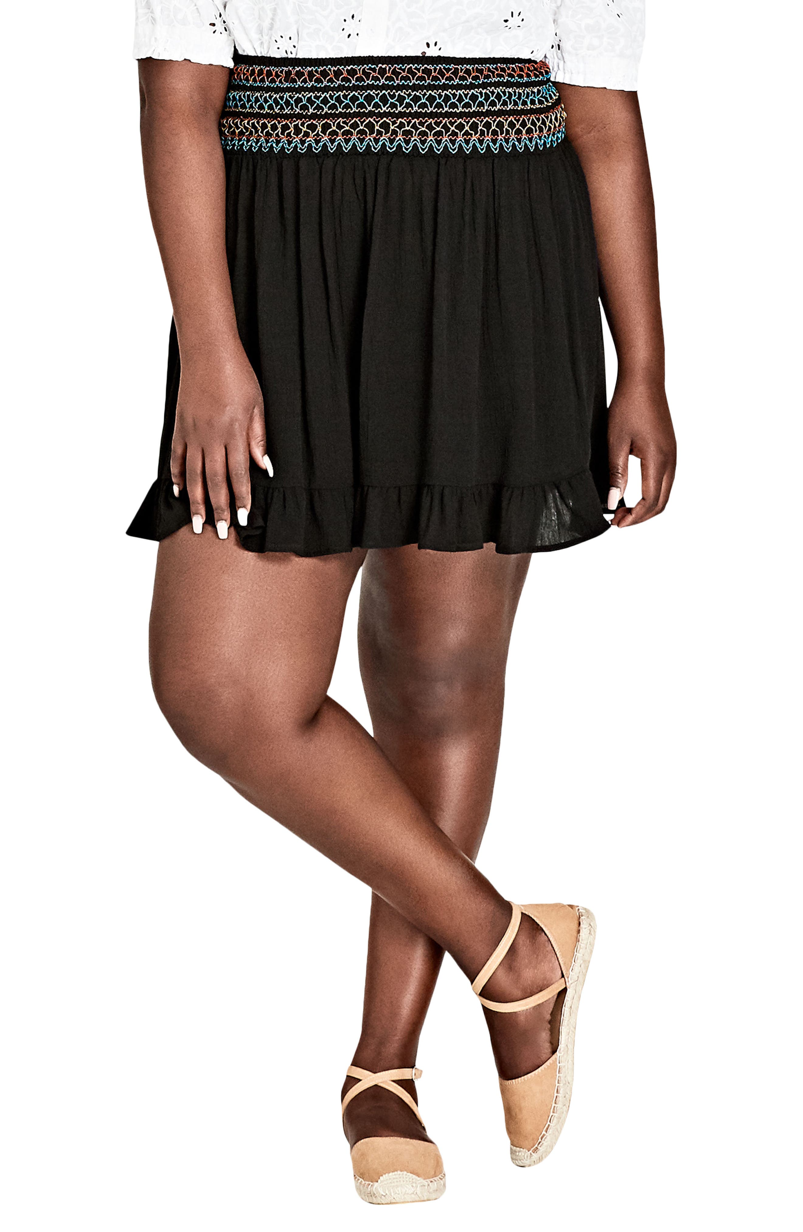 TRENDY PLUS SIZE EMBROIDERED RUFFLED SKIRT