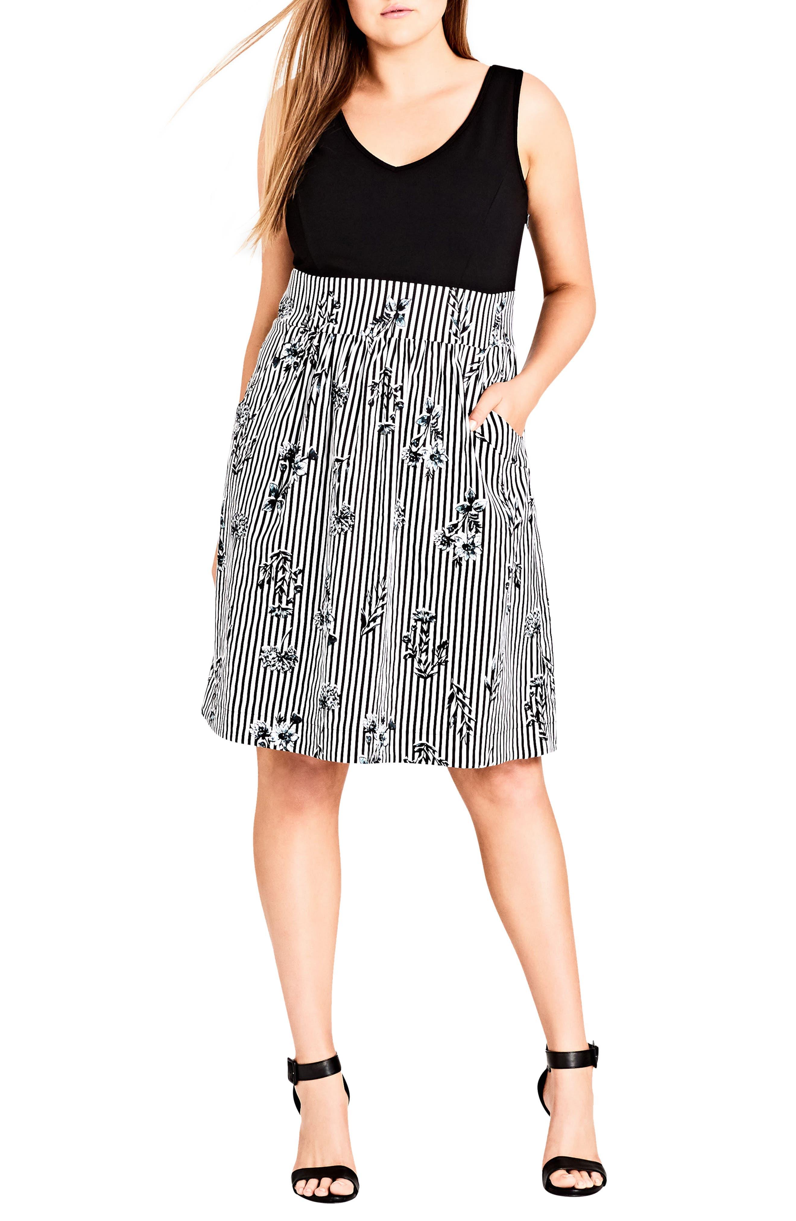 Stripe Floral A-Line Dress,                         Main,                         color, Flower Line