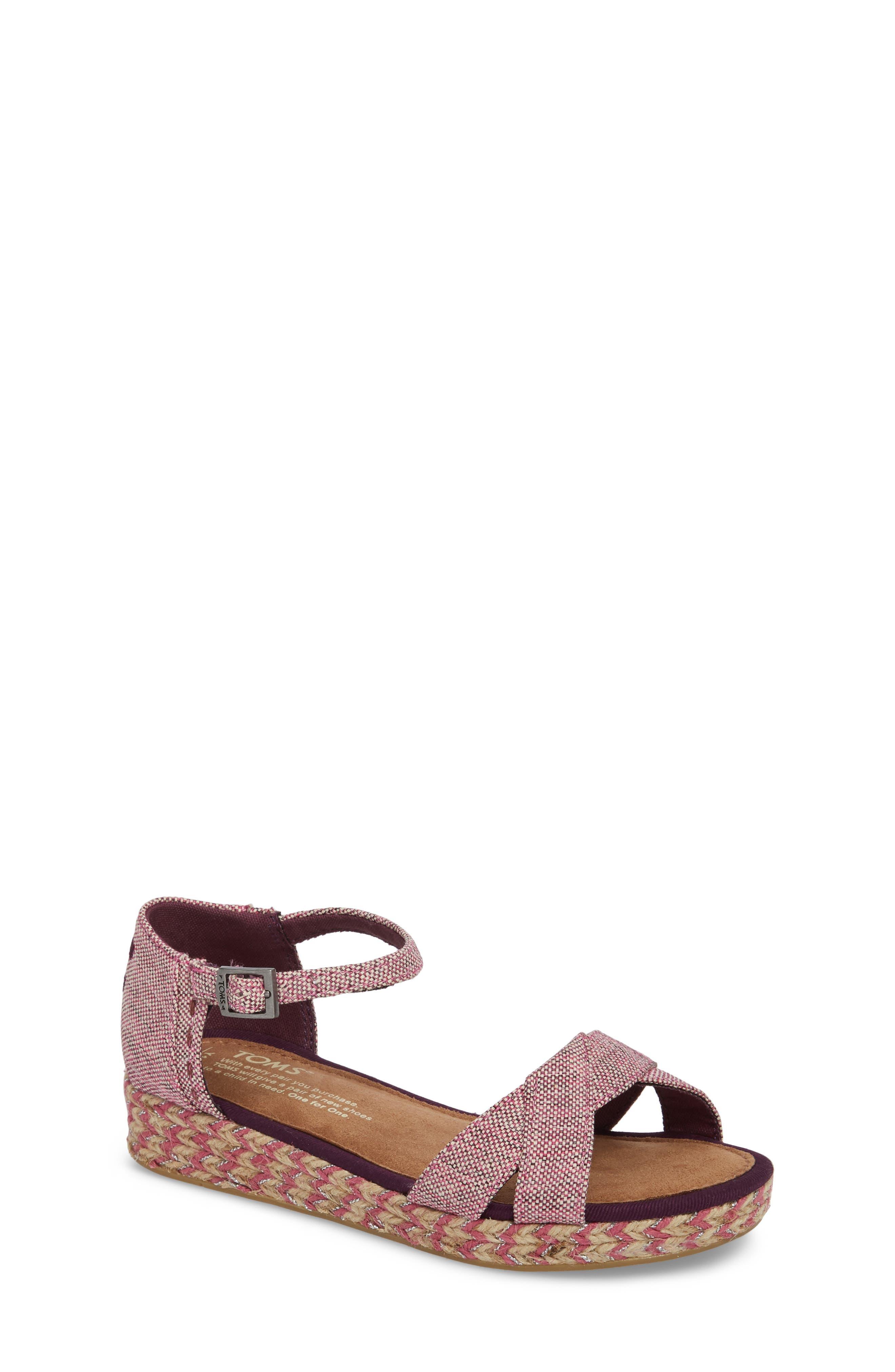 Harper Wedge Sandal,                             Main thumbnail 1, color,                             Plum Oxford Melange