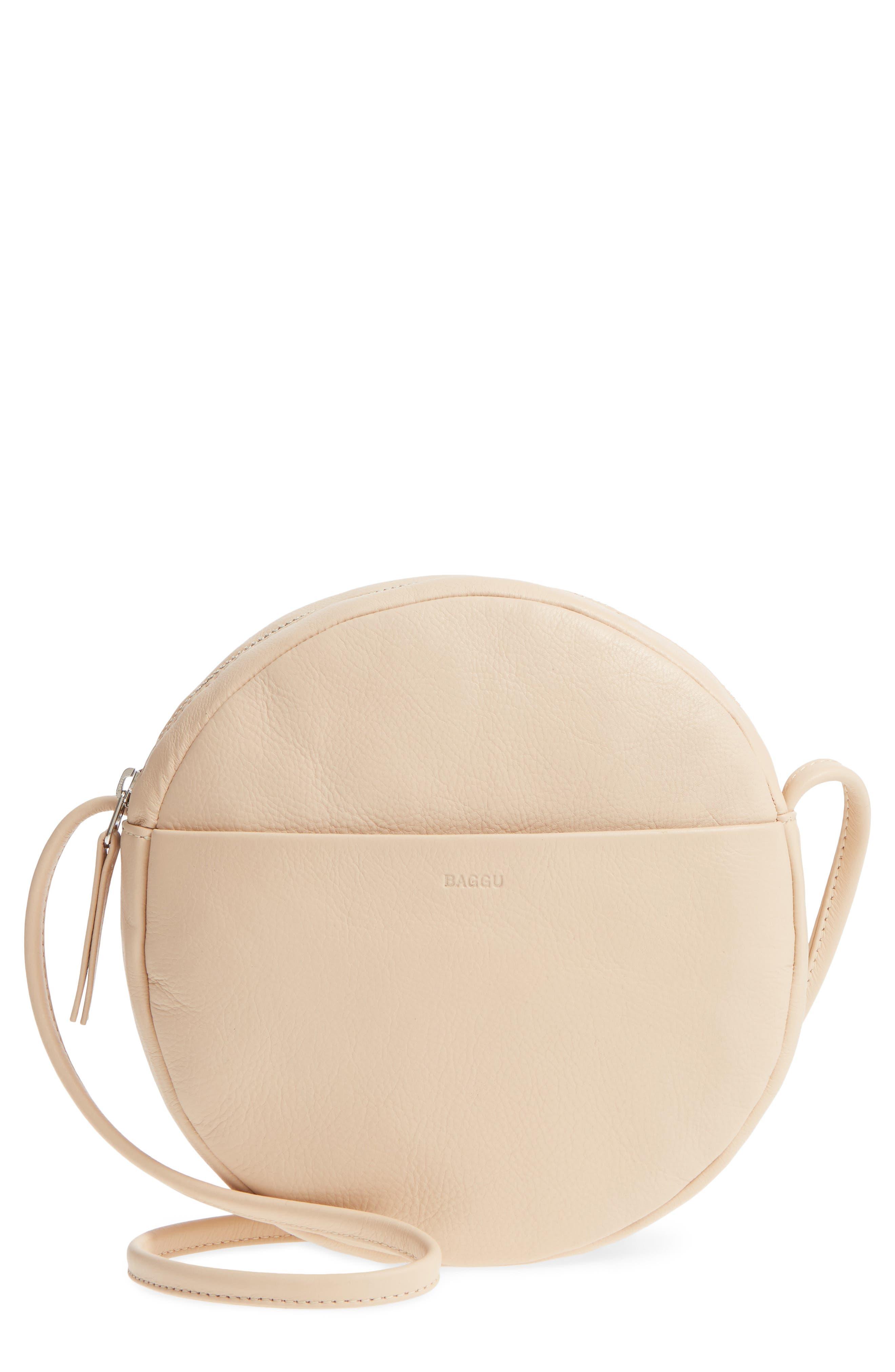 Baggu Circle Calfskin Leather Crossbody Bag