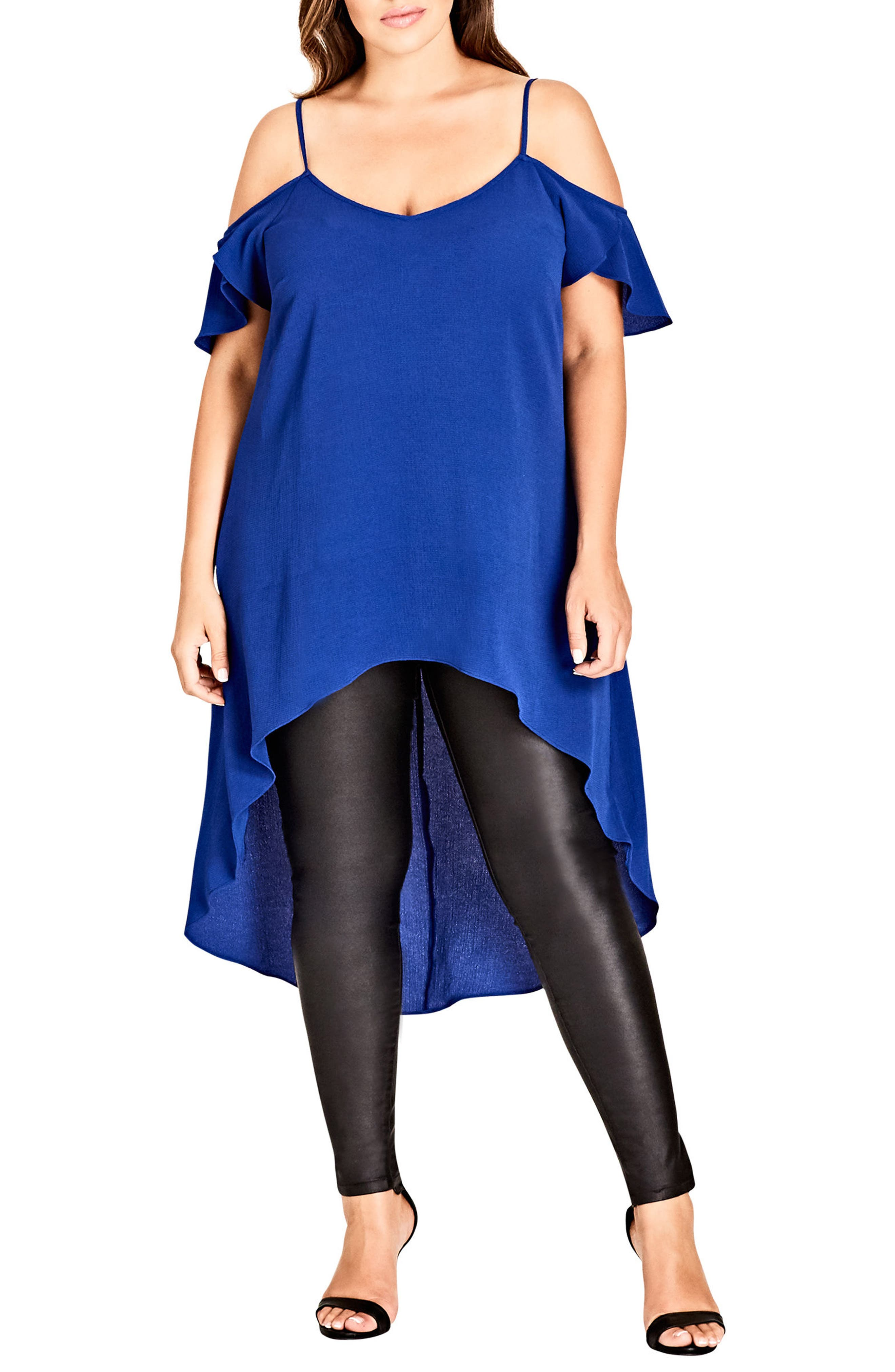 Charmer Off Shoulder High/Low Top,                         Main,                         color, Lapis