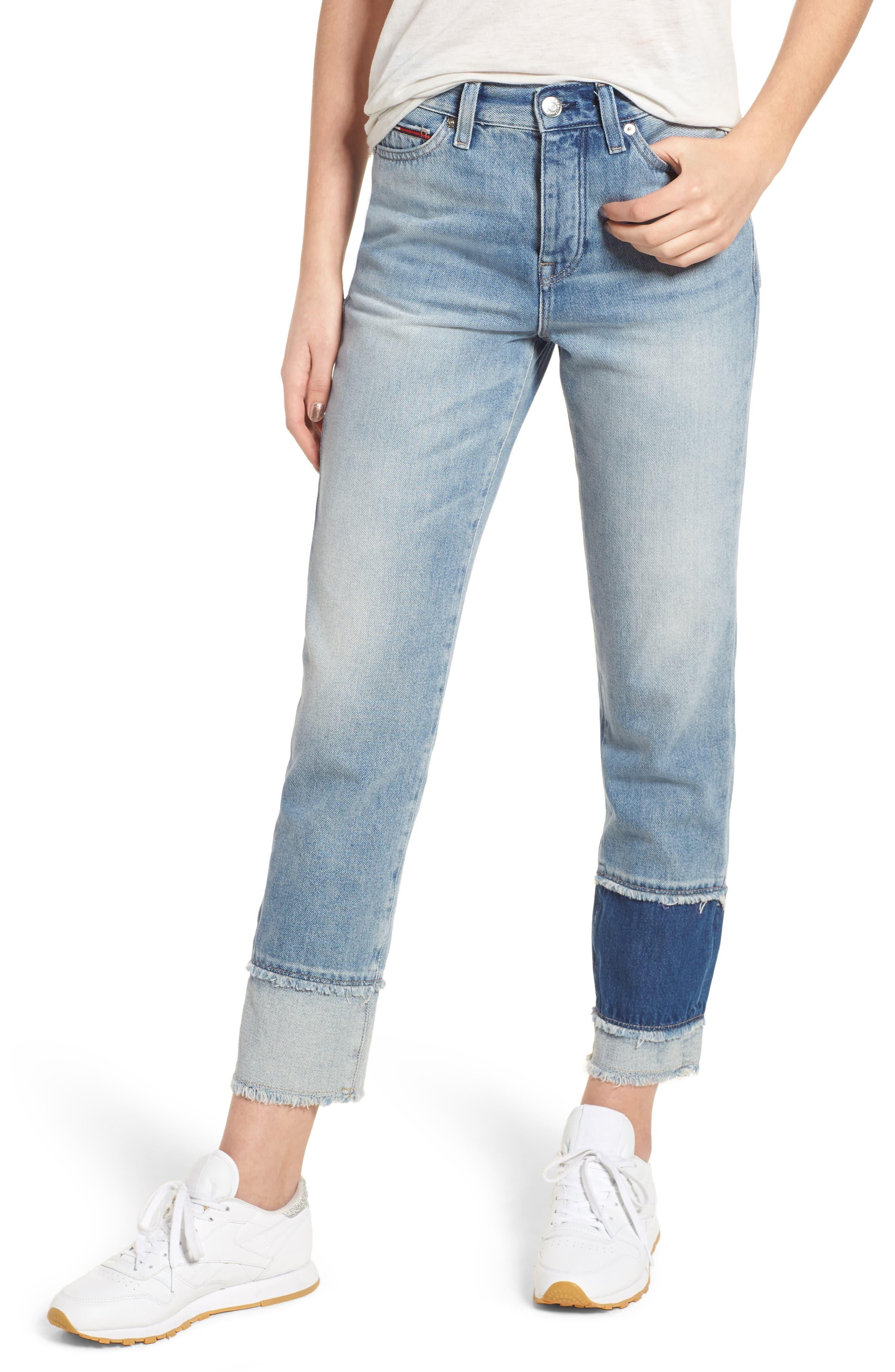Izzy Layered Cuff Slim Leg Jeans,                             Main thumbnail 1, color,                             Raw Patch Light Blue Rigid