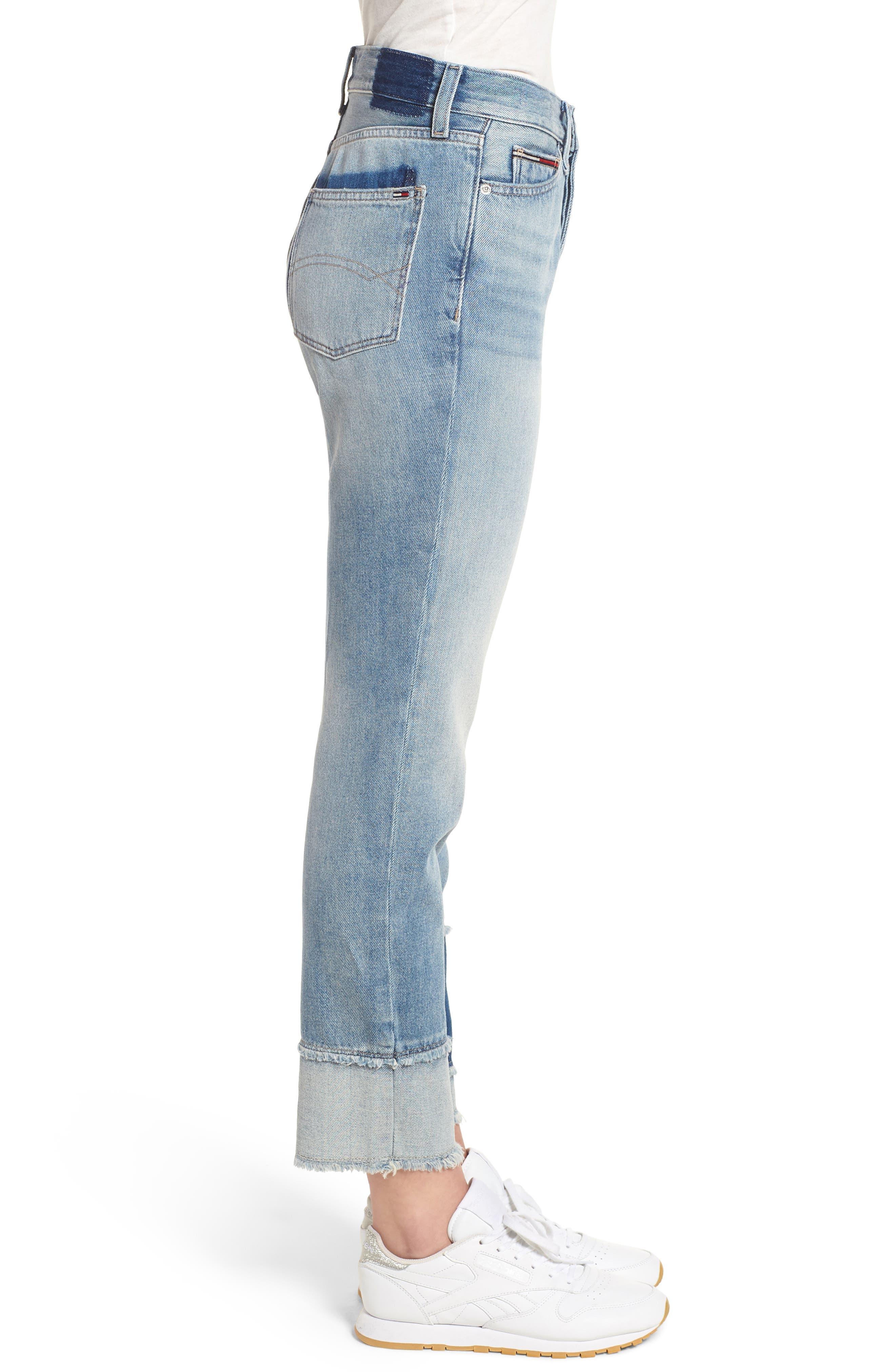 Izzy Layered Cuff Slim Leg Jeans,                             Alternate thumbnail 3, color,                             Raw Patch Light Blue Rigid