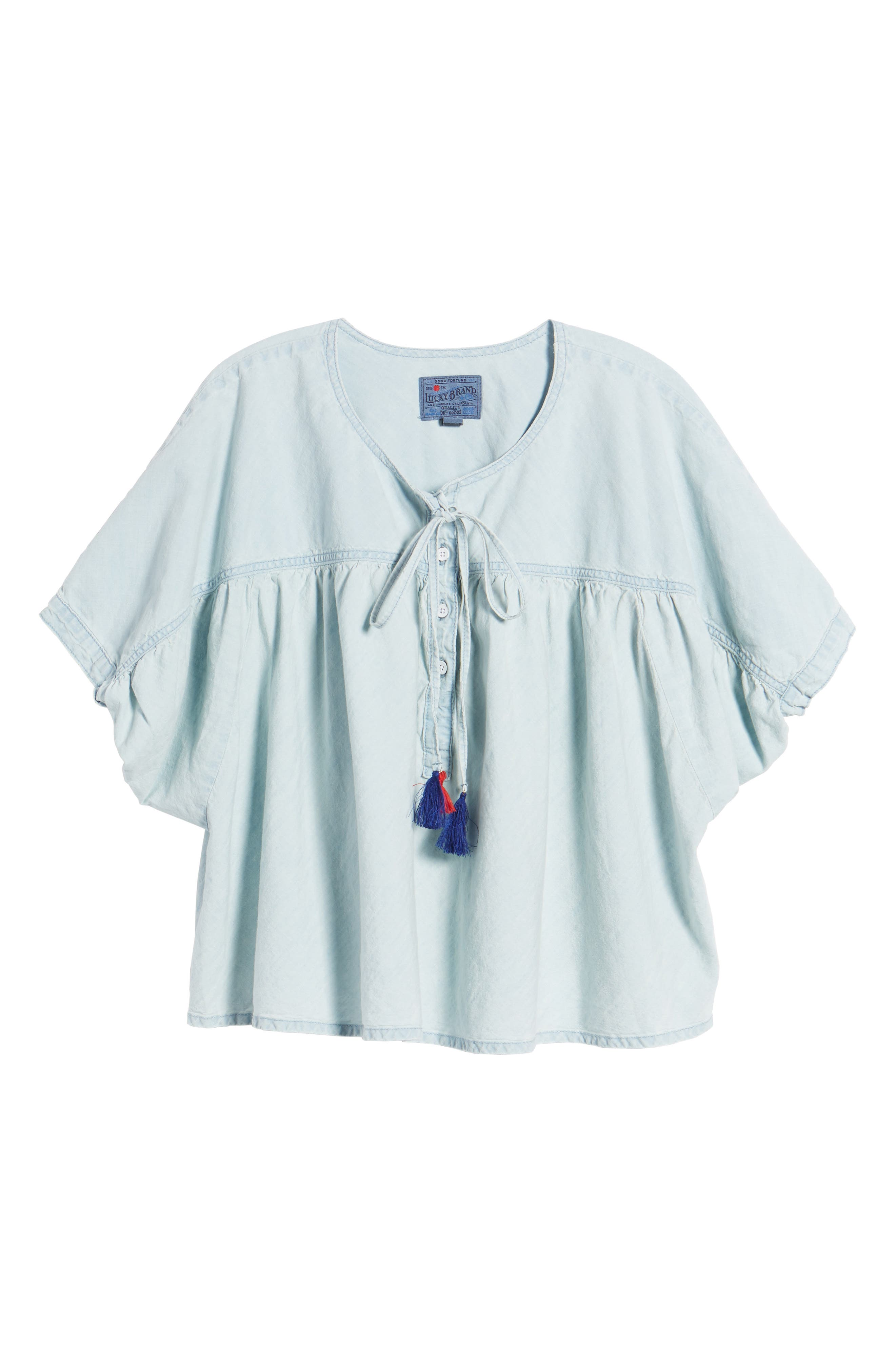 Tie Neck Chambray Top,                             Alternate thumbnail 7, color,                             Pelican Lake