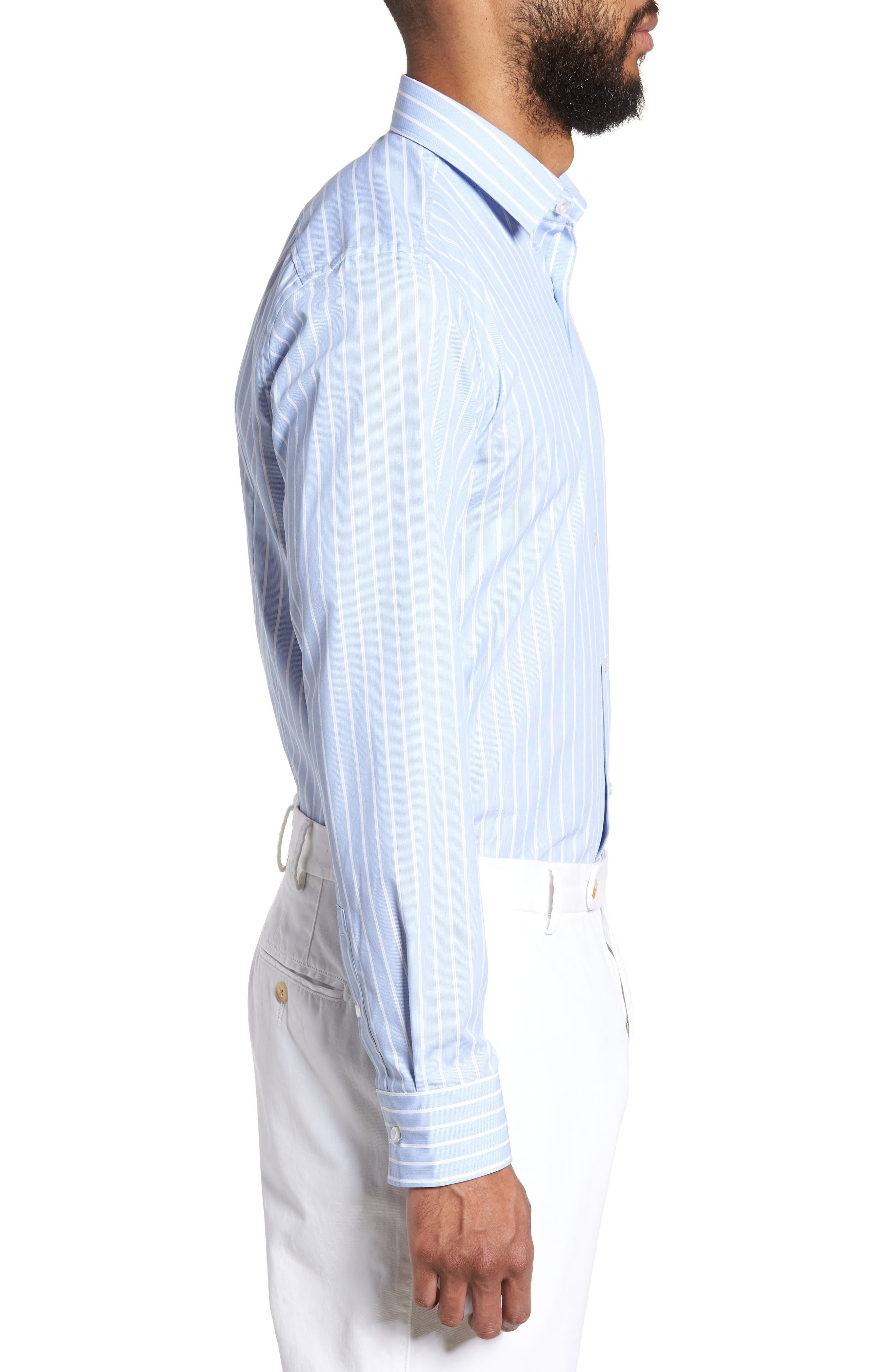 Jenno Slim Fit Stripe Dress Shirt,                             Alternate thumbnail 4, color,                             Blue