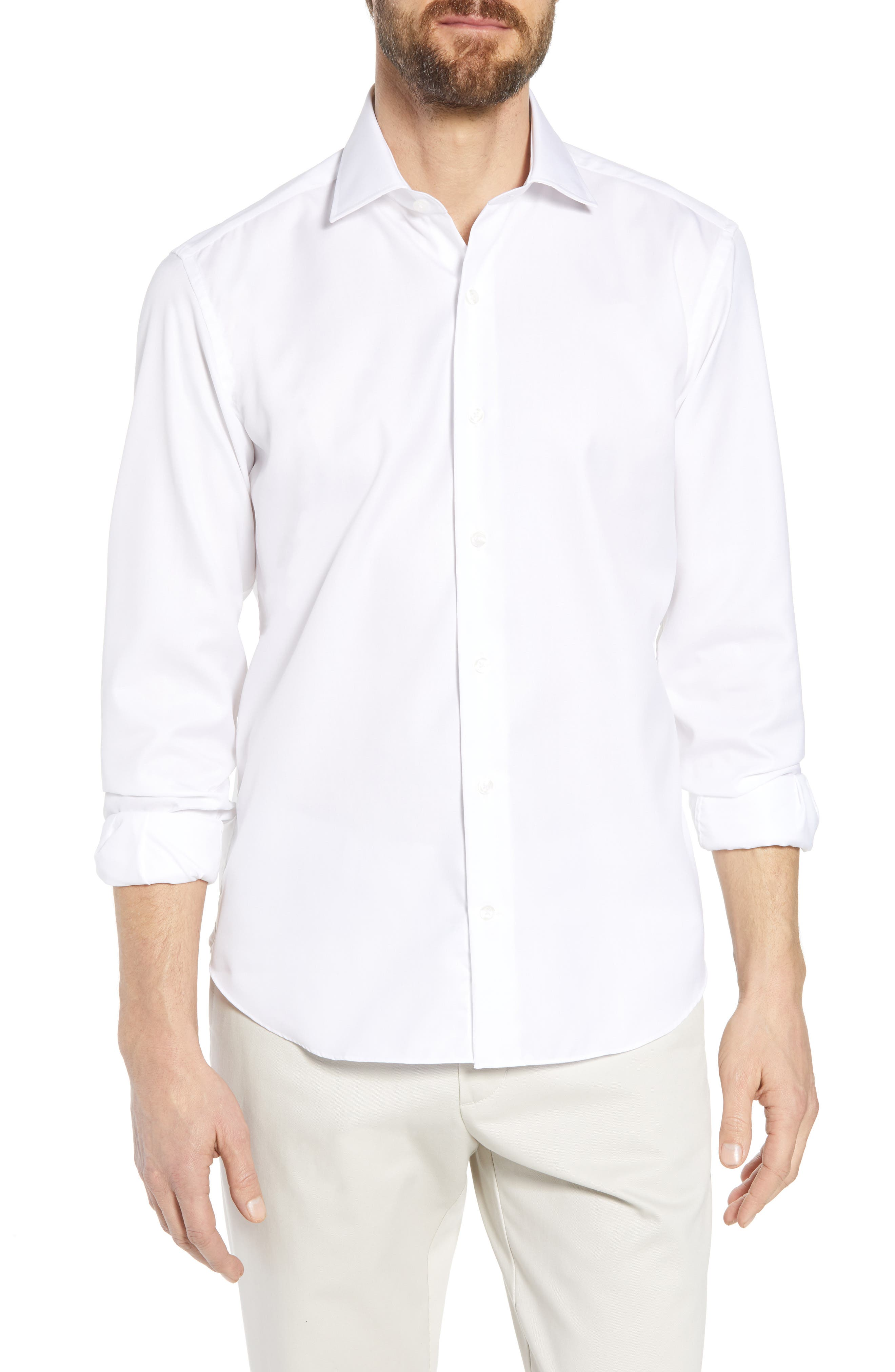 Crease Free Extra Soft Sport Shirt,                             Main thumbnail 1, color,                             White