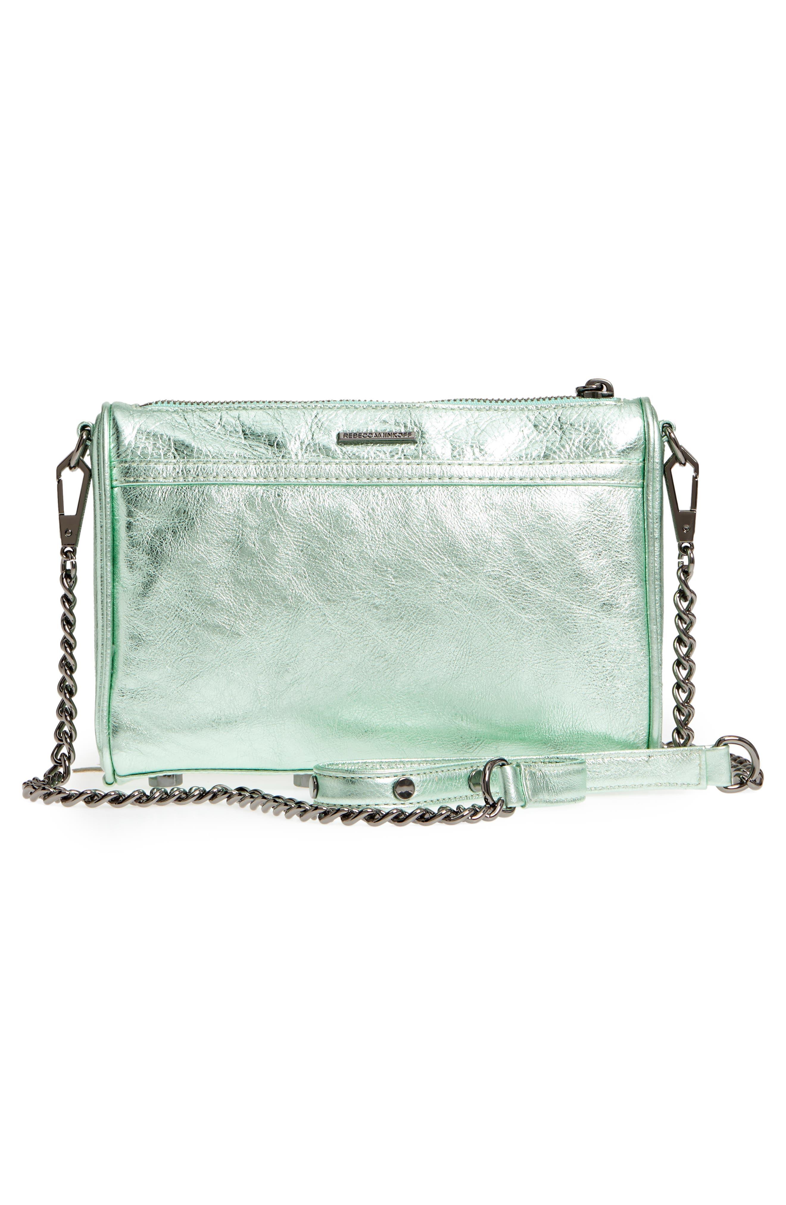 Mini MAC Metallic Leather Convertible Crossbody Bag,                             Alternate thumbnail 3, color,                             Mint