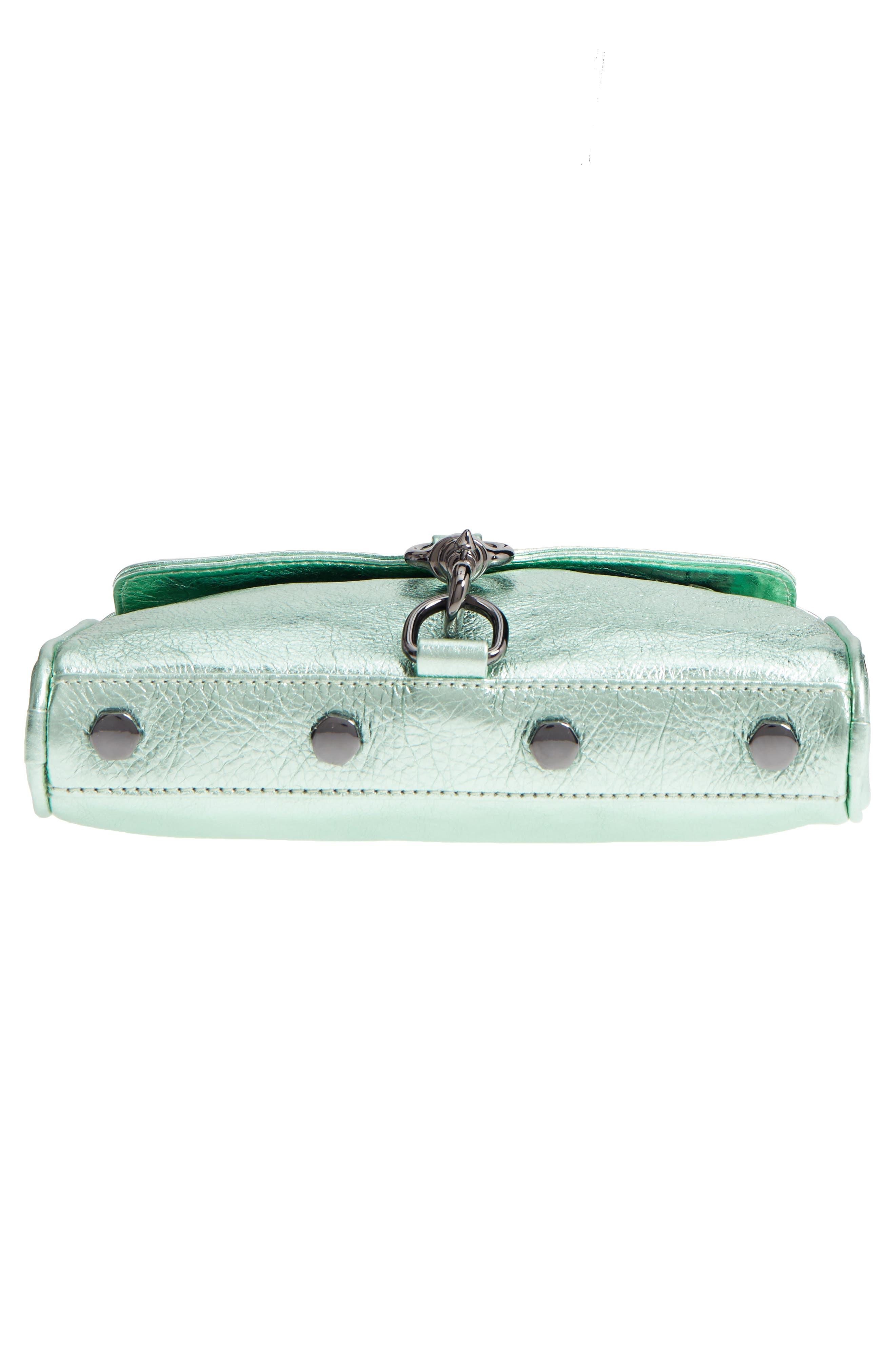 Mini MAC Metallic Leather Convertible Crossbody Bag,                             Alternate thumbnail 6, color,                             Mint