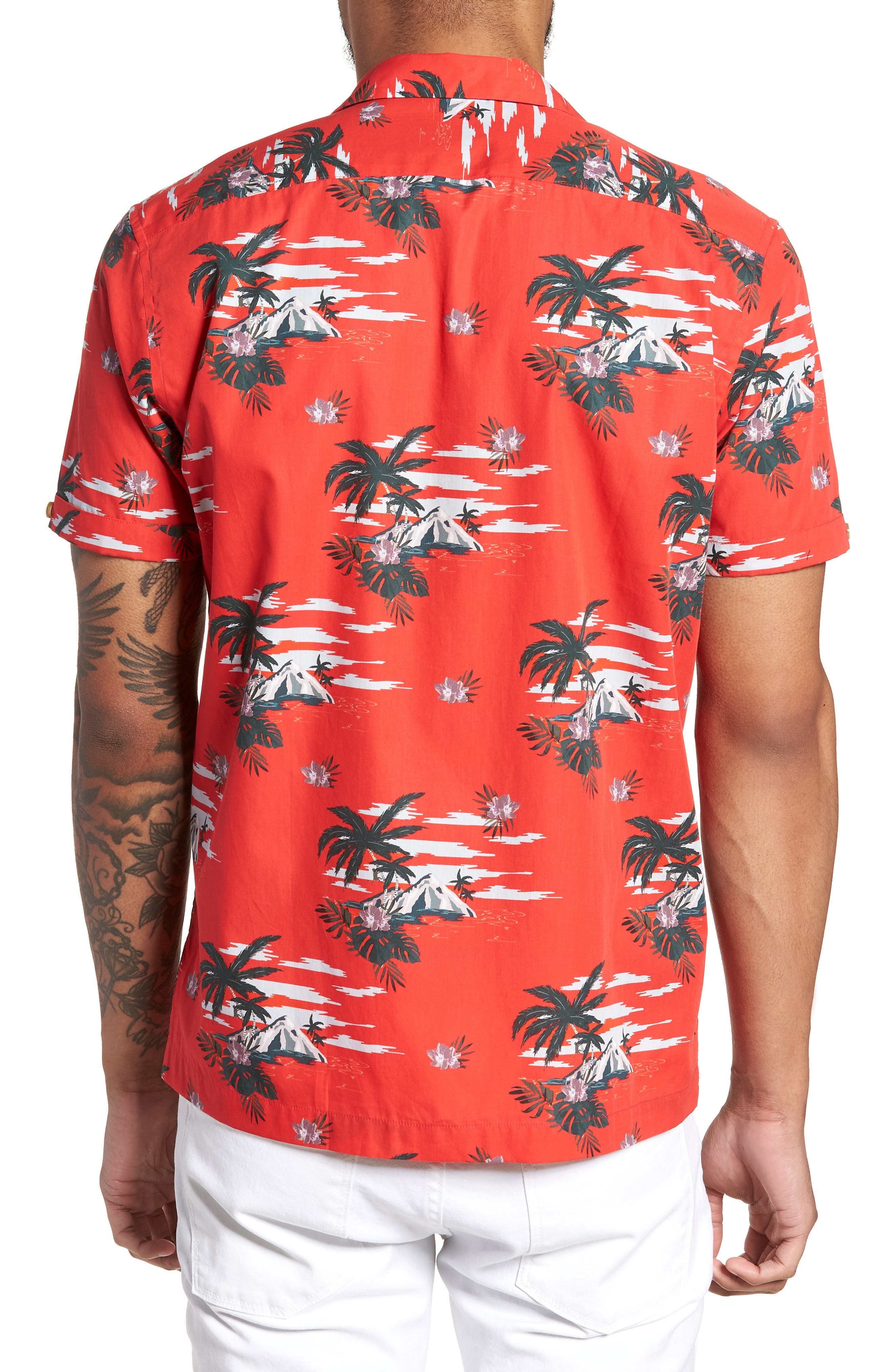 Slim Fit Tropical Pattern Sport Shirt,                             Alternate thumbnail 3, color,                             Red