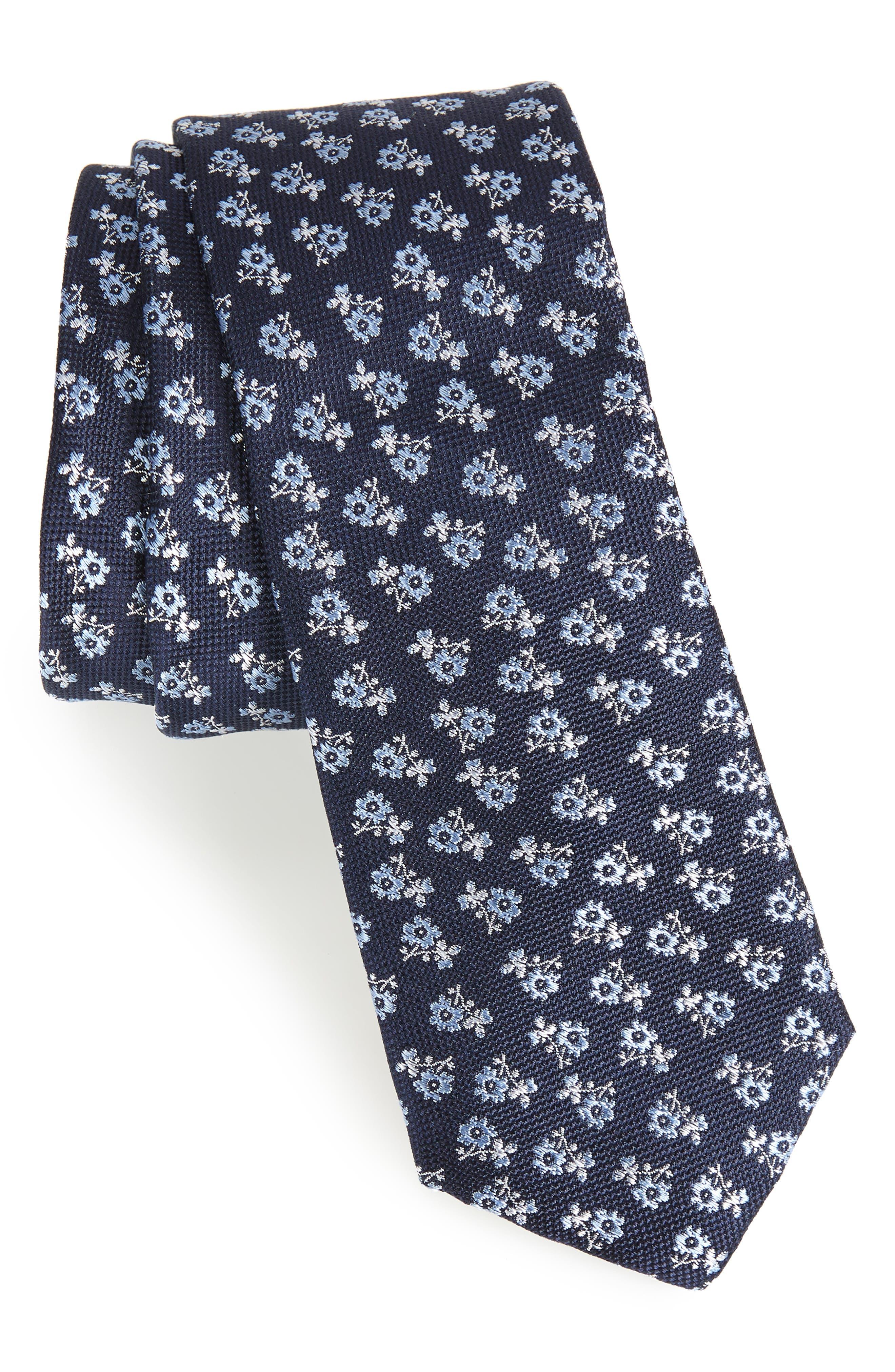 Nadaleen Floral Silk Tie,                             Main thumbnail 1, color,                             Navy