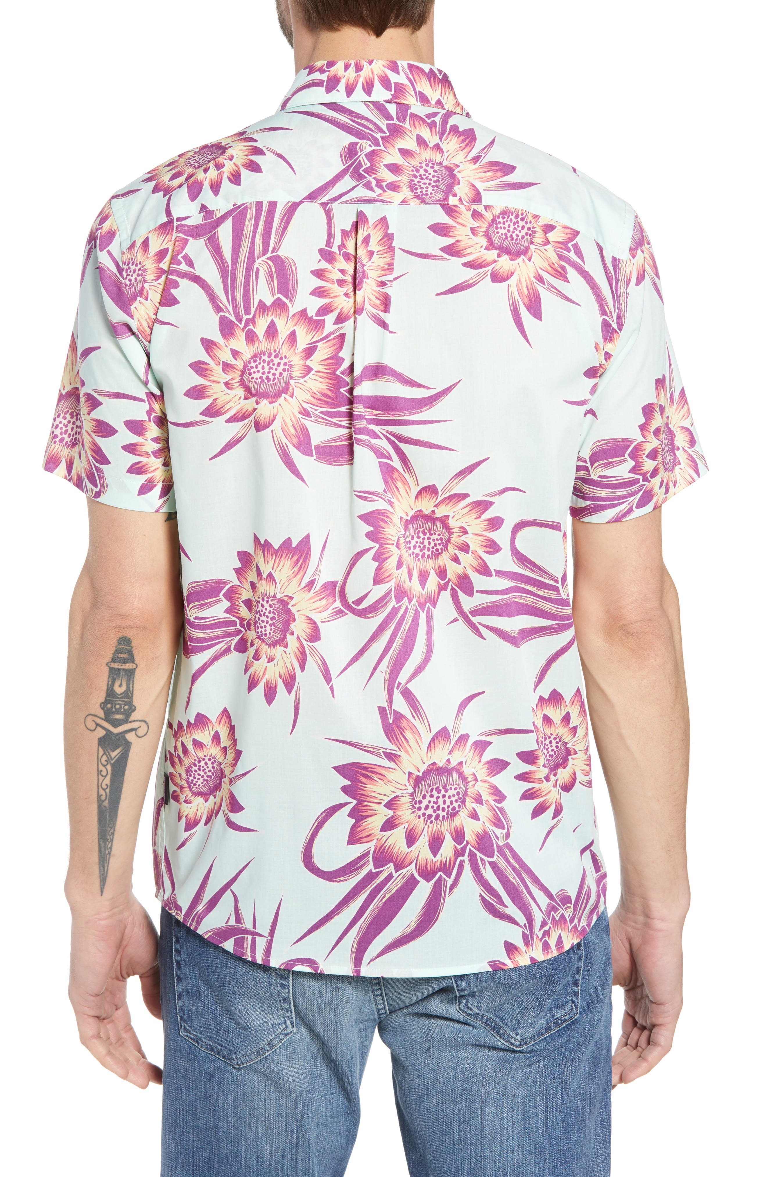 'Go To' Slim Fit Short Sleeve Sport Shirt,                             Alternate thumbnail 3, color,                             Cereus Flower/ Lite Bend Blue