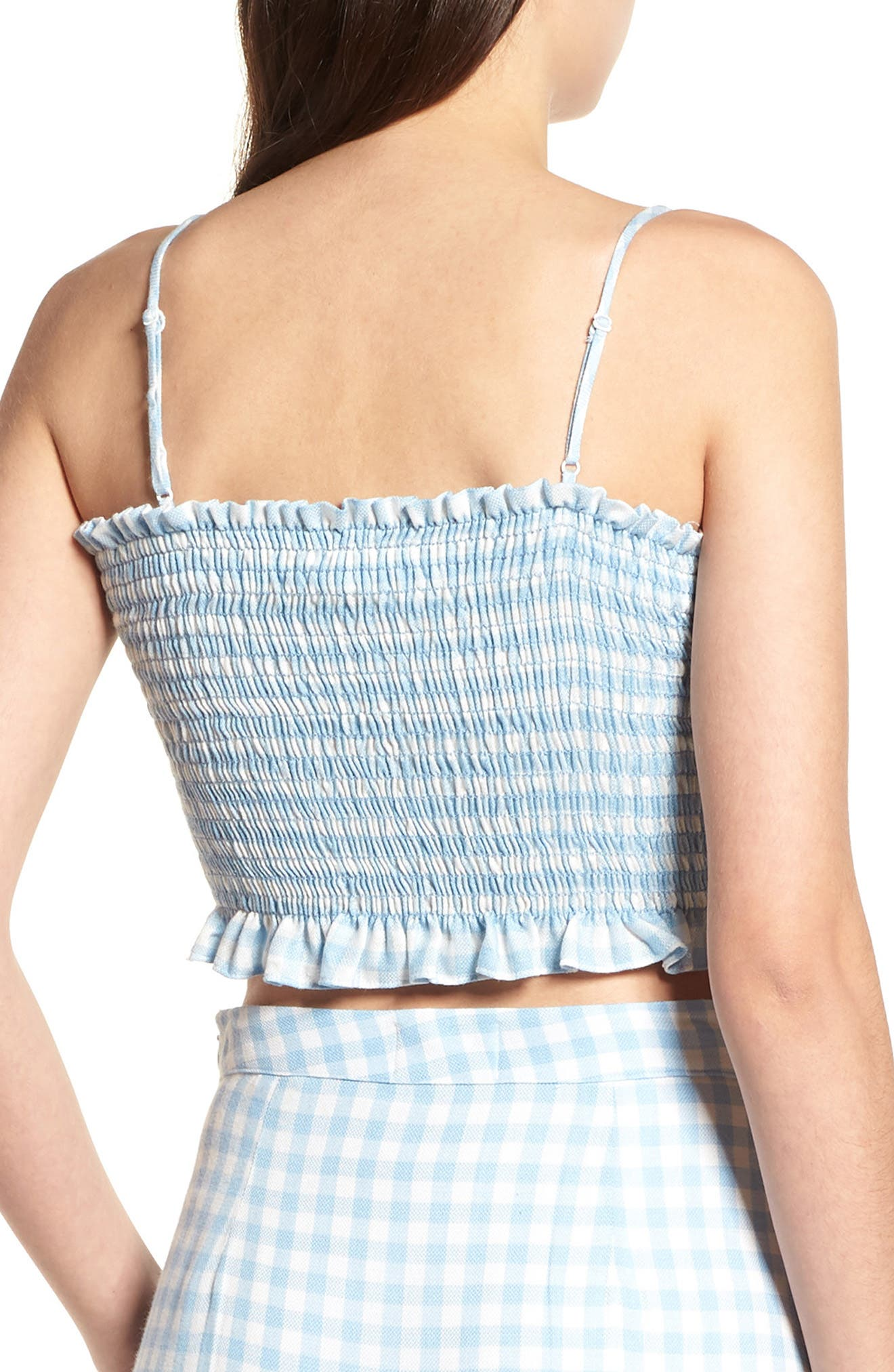Fiesta Smocked Gingham Crop Top,                             Alternate thumbnail 4, color,                             Baby Blue