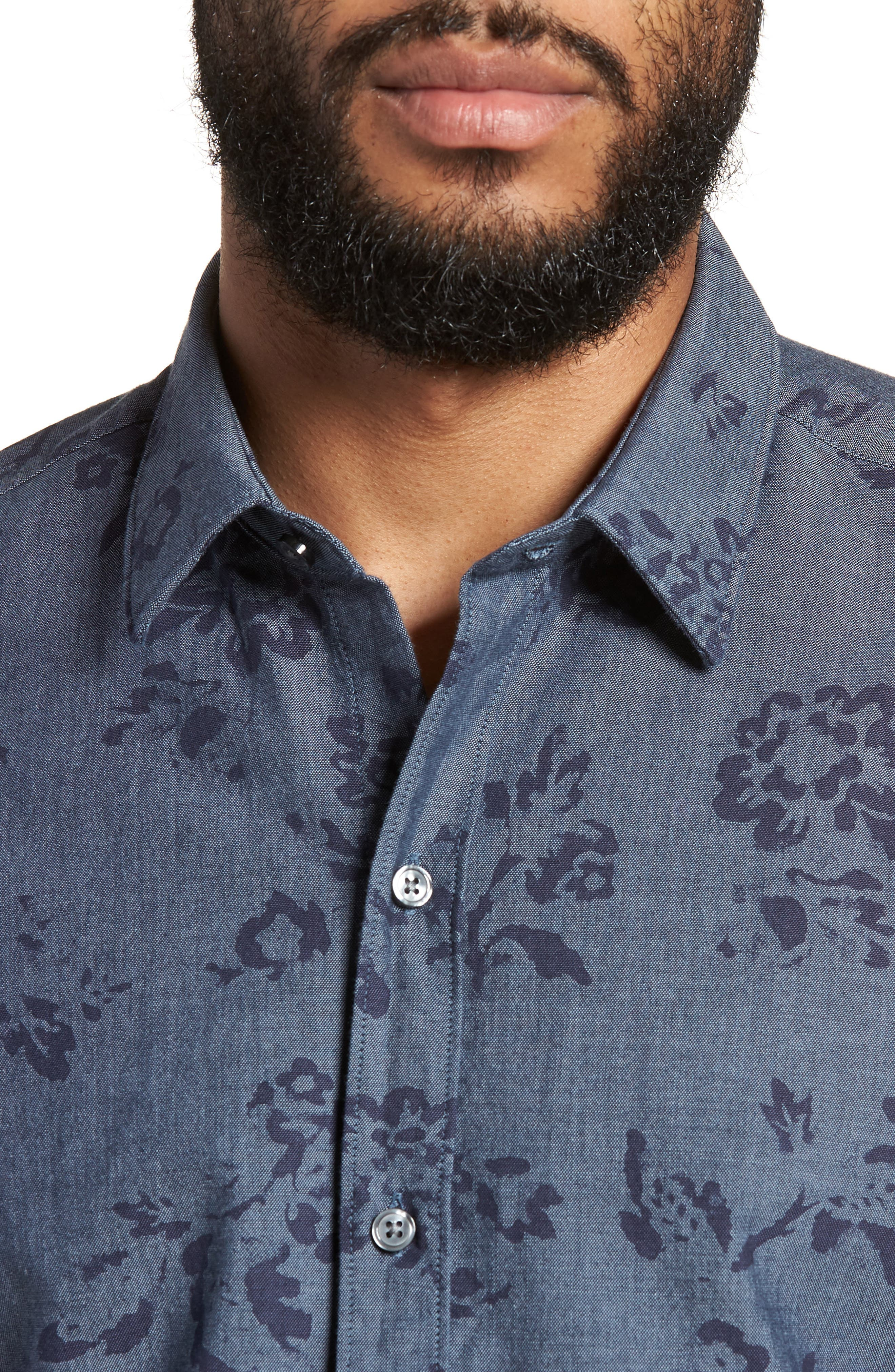 Robb Trim Fit Floral Short Sleeve Sport Shirt,                             Alternate thumbnail 4, color,                             Navy