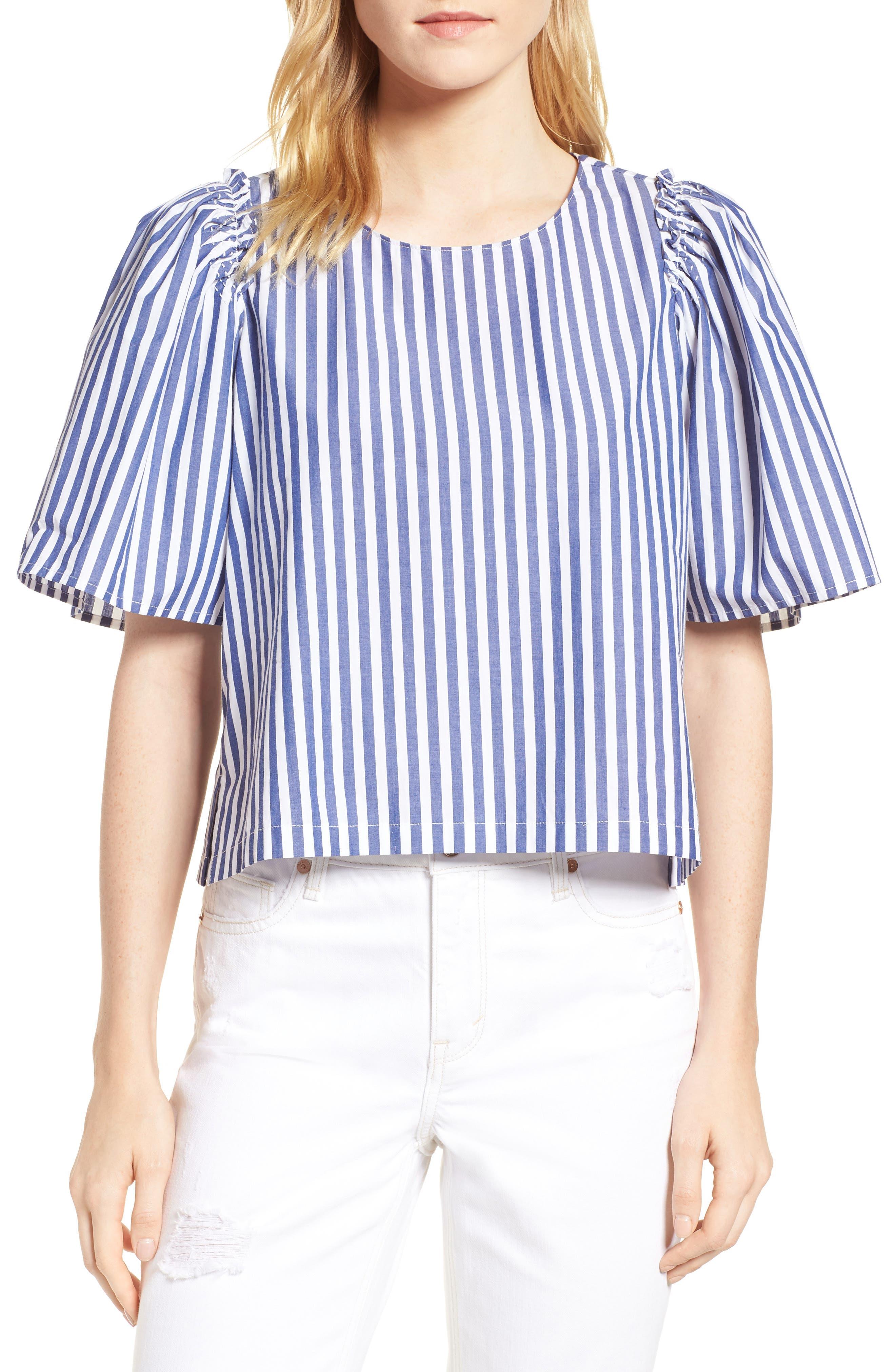 Valeria Stripe Stretch Cotton Top,                             Main thumbnail 1, color,                             Blue/ White