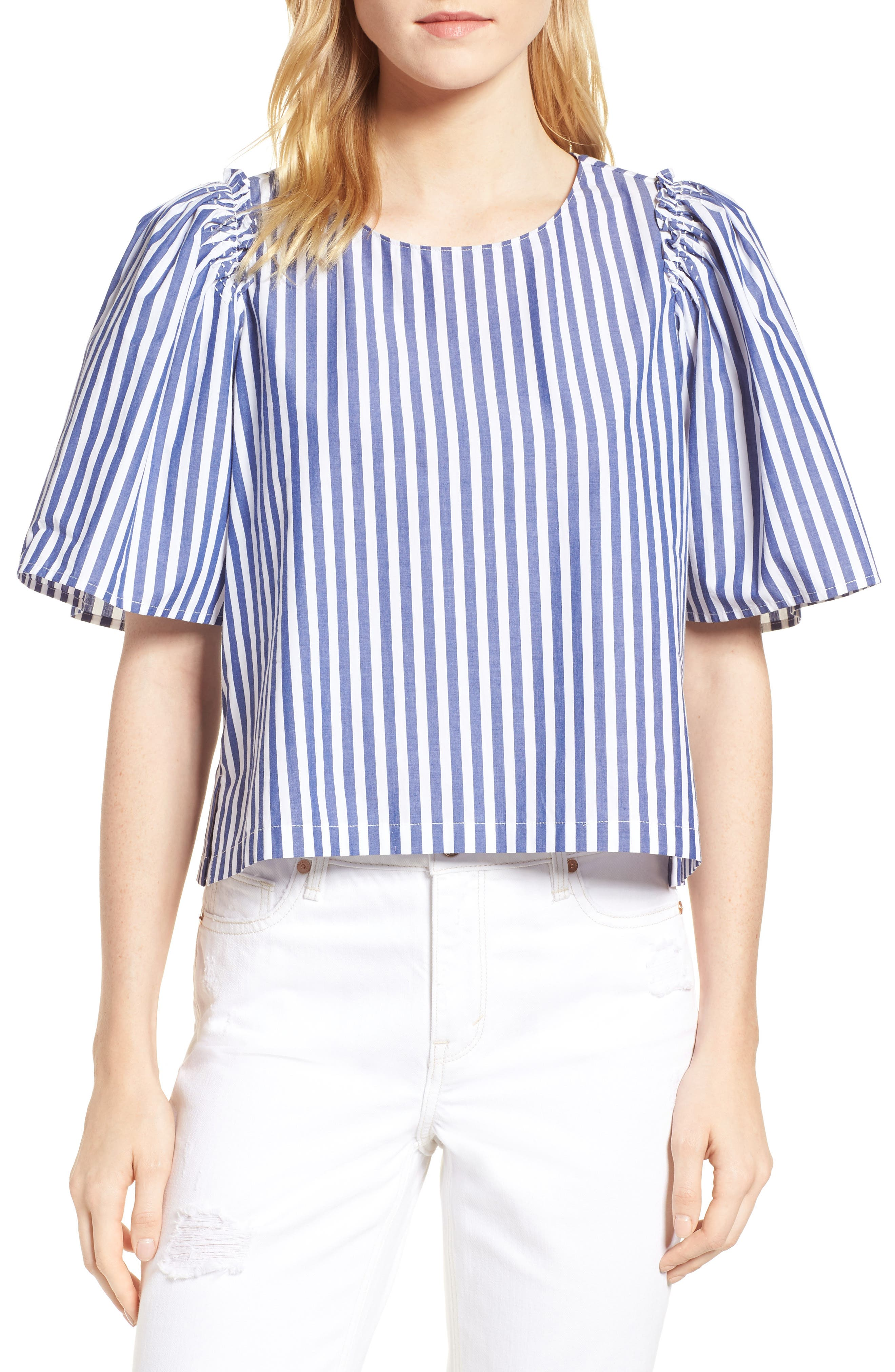Valeria Stripe Stretch Cotton Top,                         Main,                         color, Blue/ White