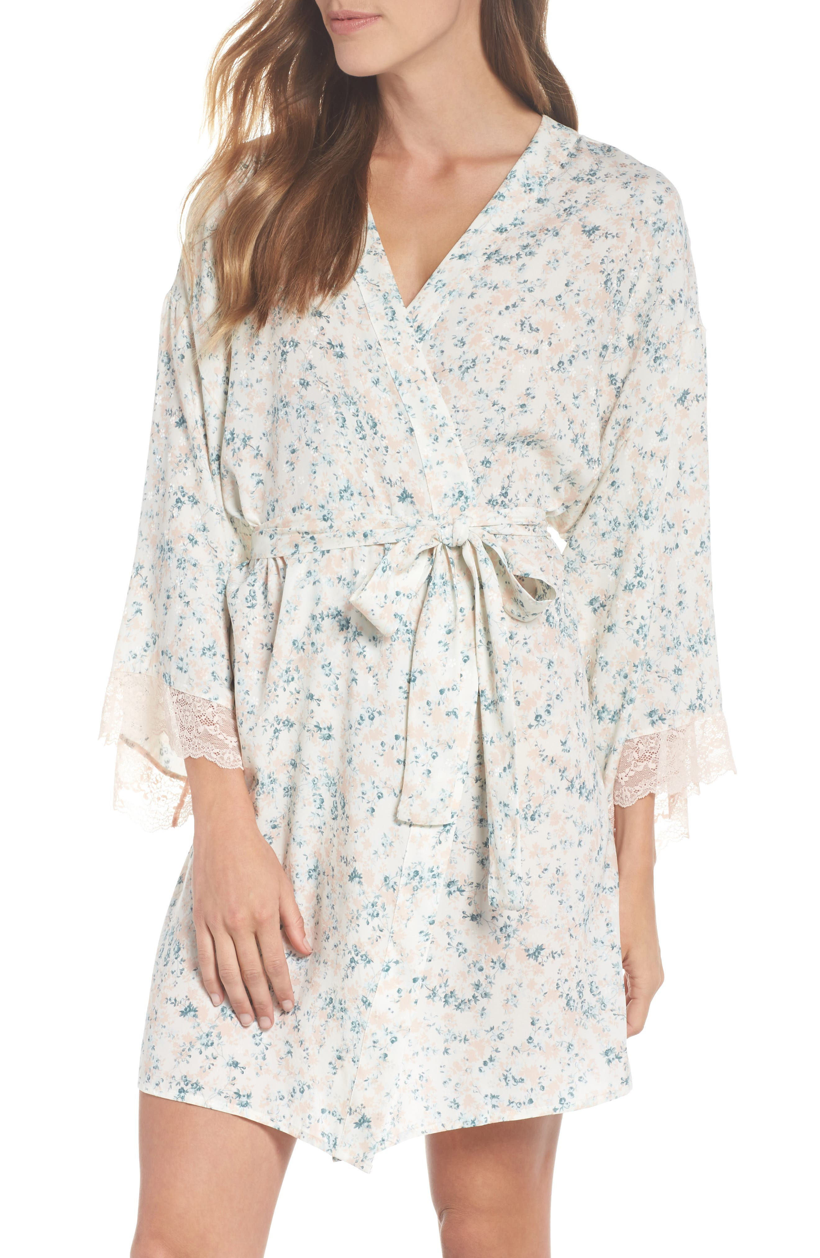 Lily Stretch Silk Short Robe,                             Main thumbnail 1, color,                             Ivory Floral Print