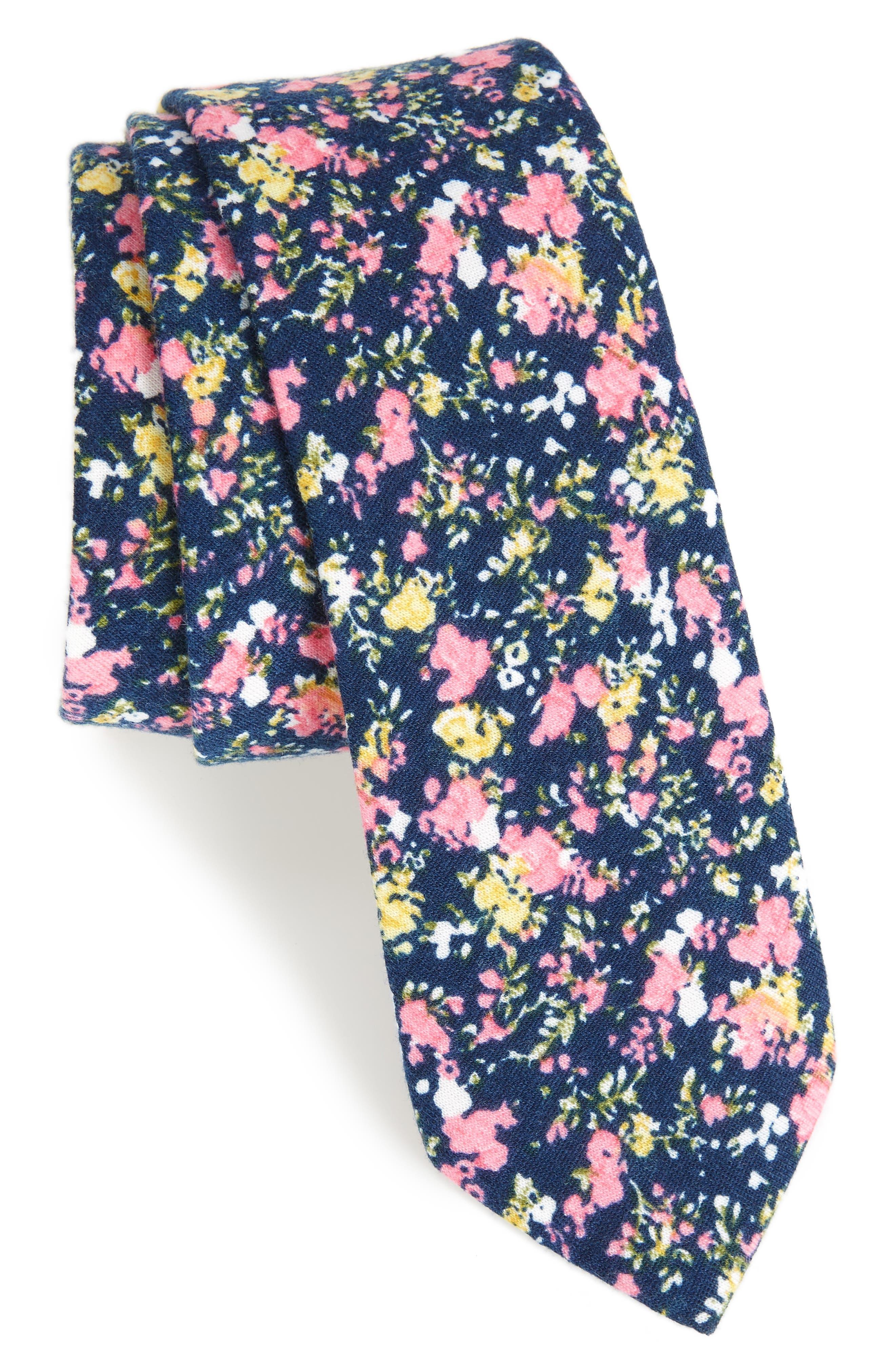 Selwyn Floral Skinny Tie,                         Main,                         color, Blue