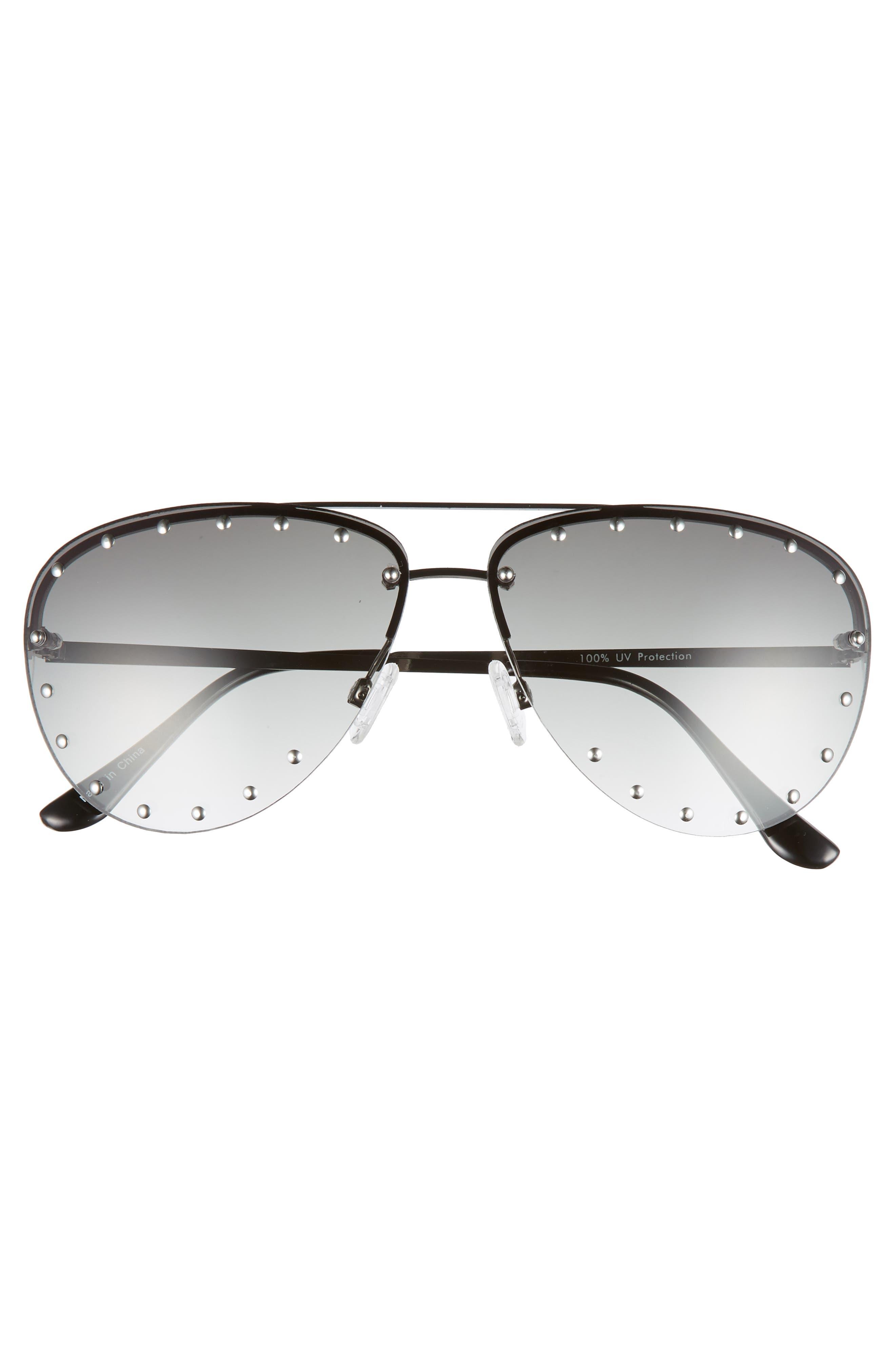 63mm Studded Aviator Sunglasses,                             Alternate thumbnail 3, color,                             Silver/ Green