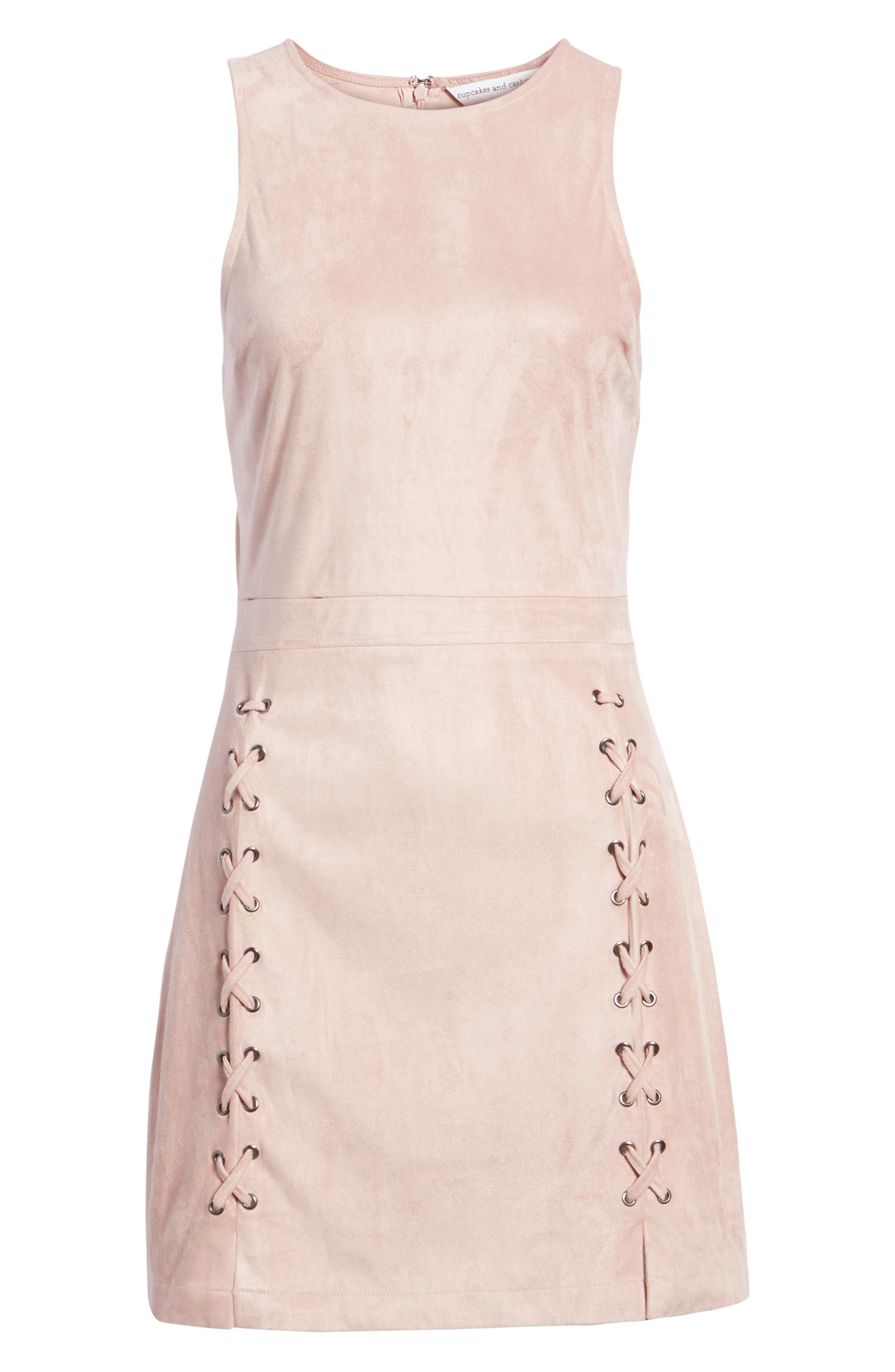 Daton Faux Suede Dress,                             Alternate thumbnail 7, color,                             Nude Pink