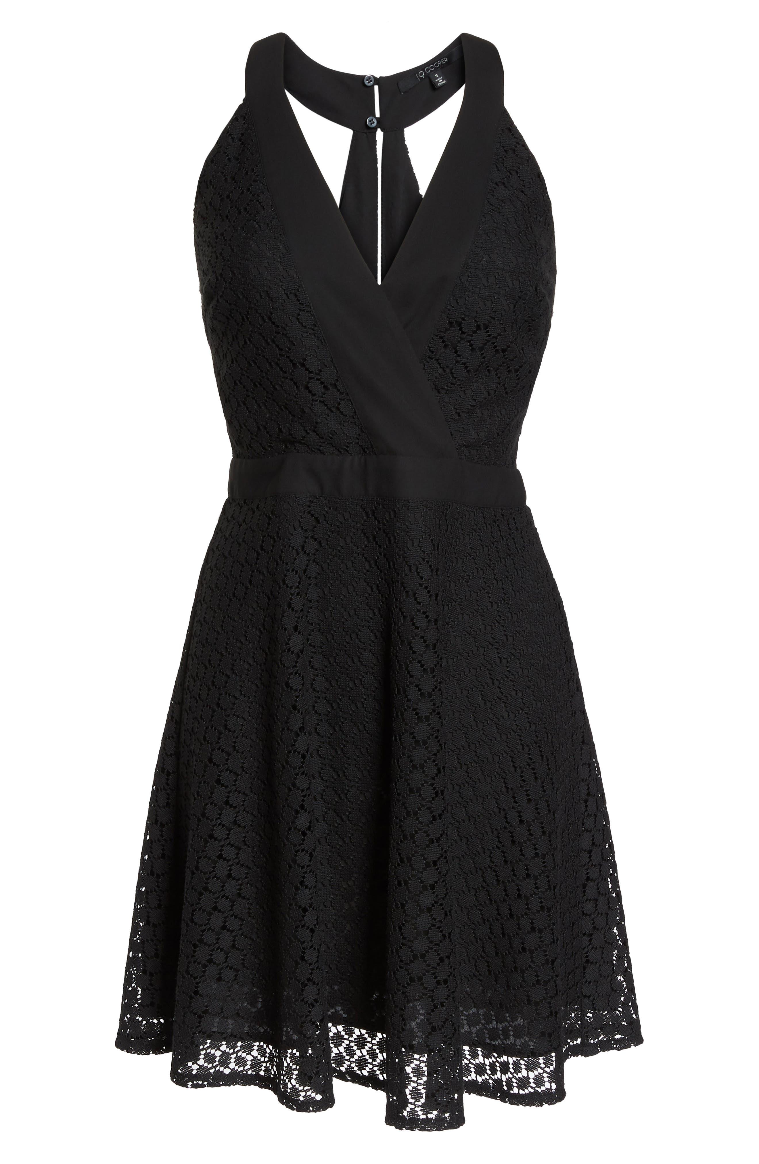 Lace Halter Dress,                             Alternate thumbnail 7, color,                             Black