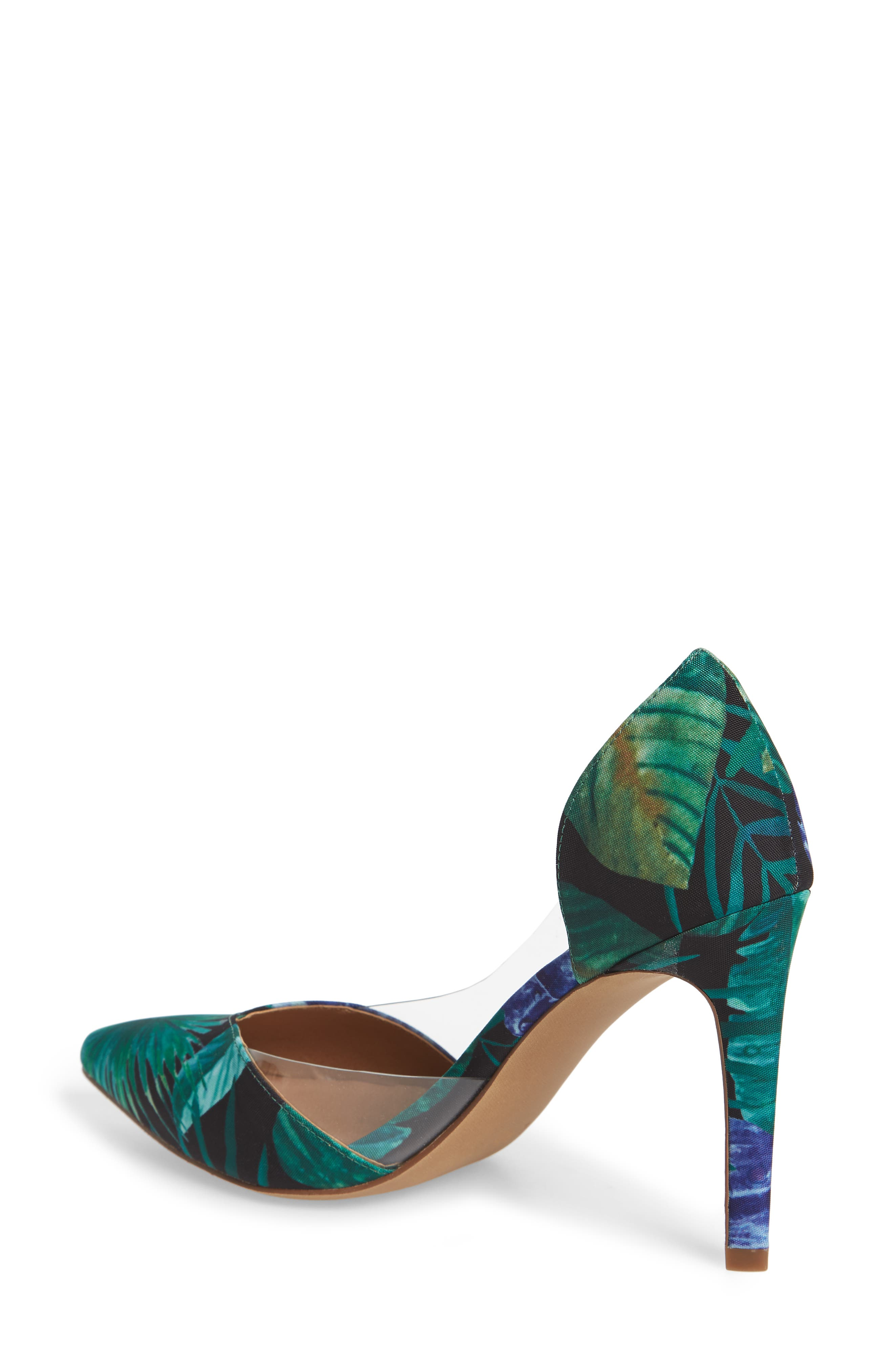 Parker Clear d'Orsay Pump,                             Alternate thumbnail 2, color,                             Green Multi Fabric Print