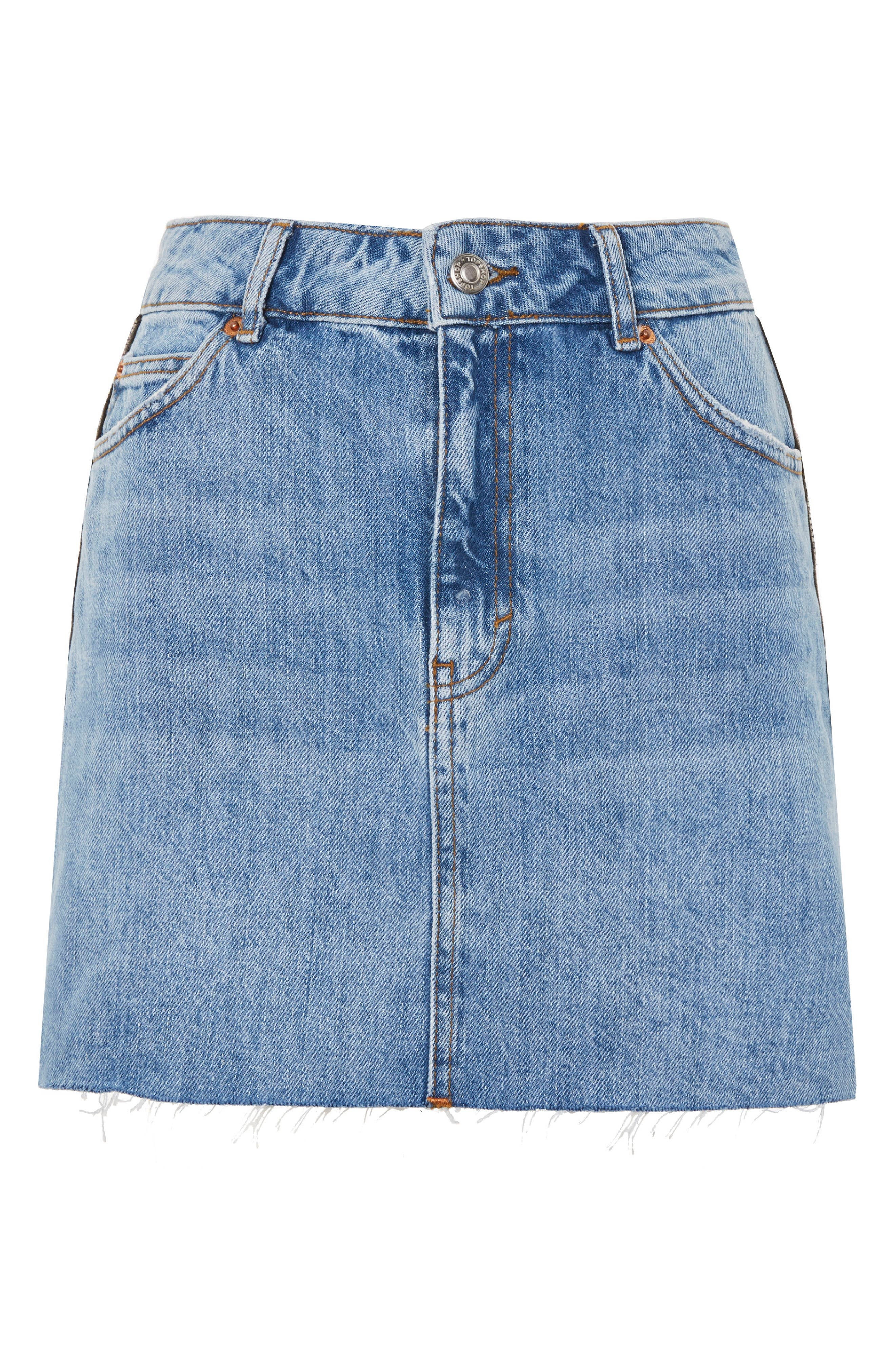 Diamante Stripe Denim Skirt,                             Alternate thumbnail 3, color,                             Mid Denim