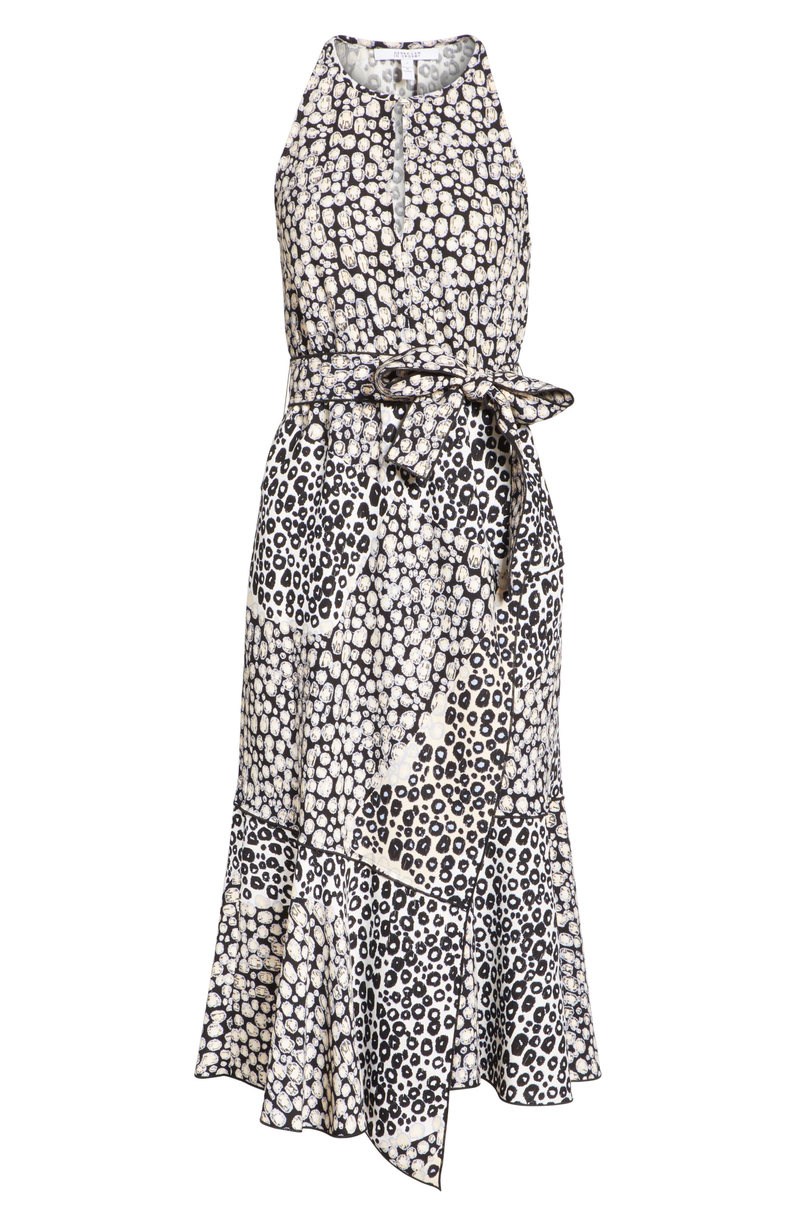 Asymmetrical Faux Wrap Dress,                             Alternate thumbnail 6, color,                             Sandstone