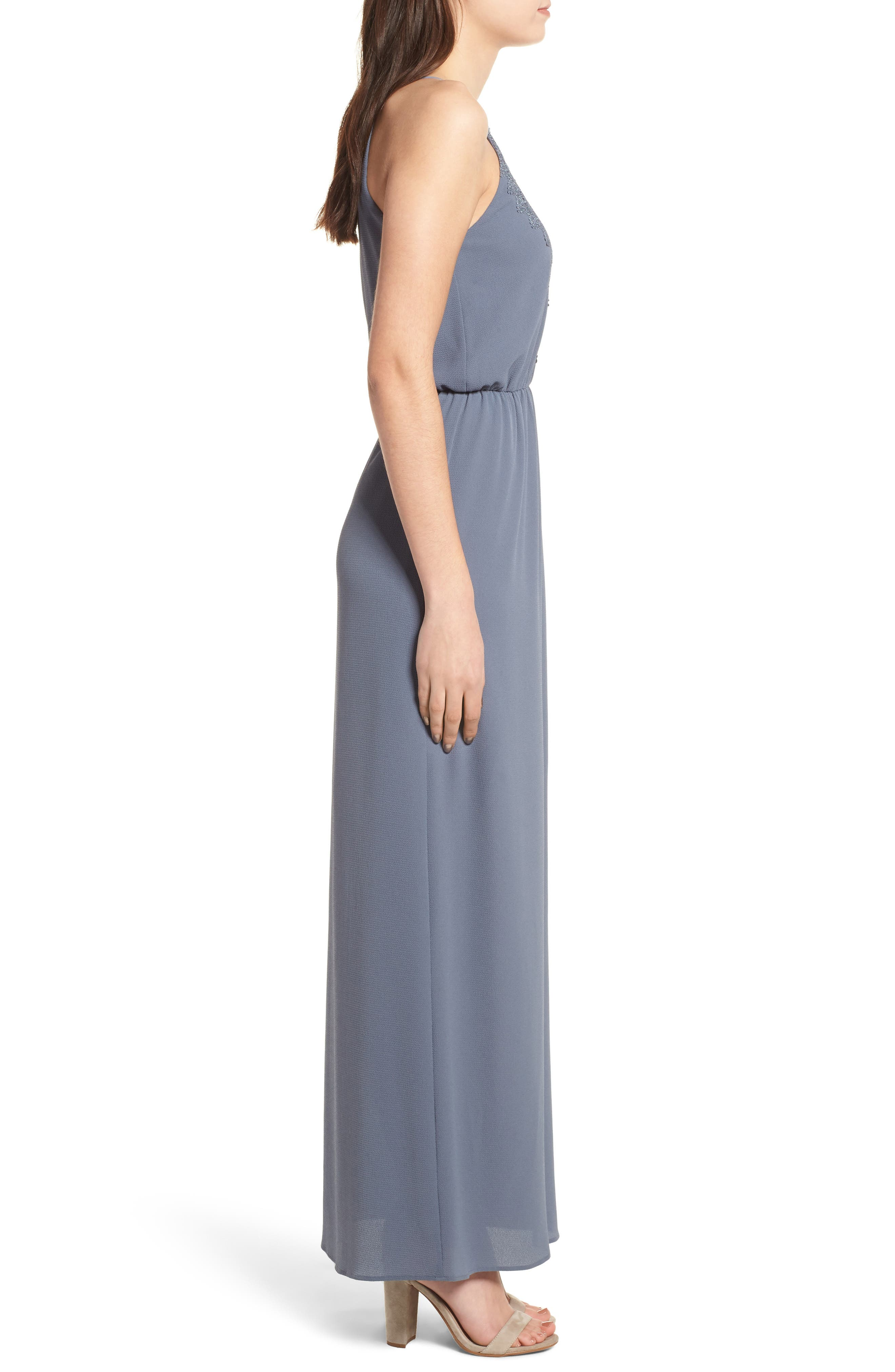 Posie Maxi Dress,                             Alternate thumbnail 3, color,                             Grey Grisaille