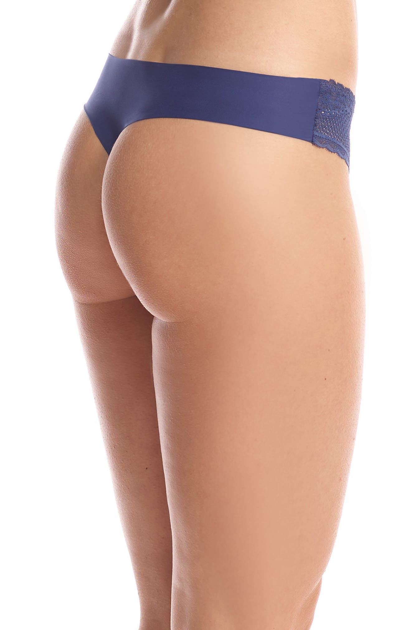 Perfect Stretch Lace Thong,                             Alternate thumbnail 2, color,                             Navy