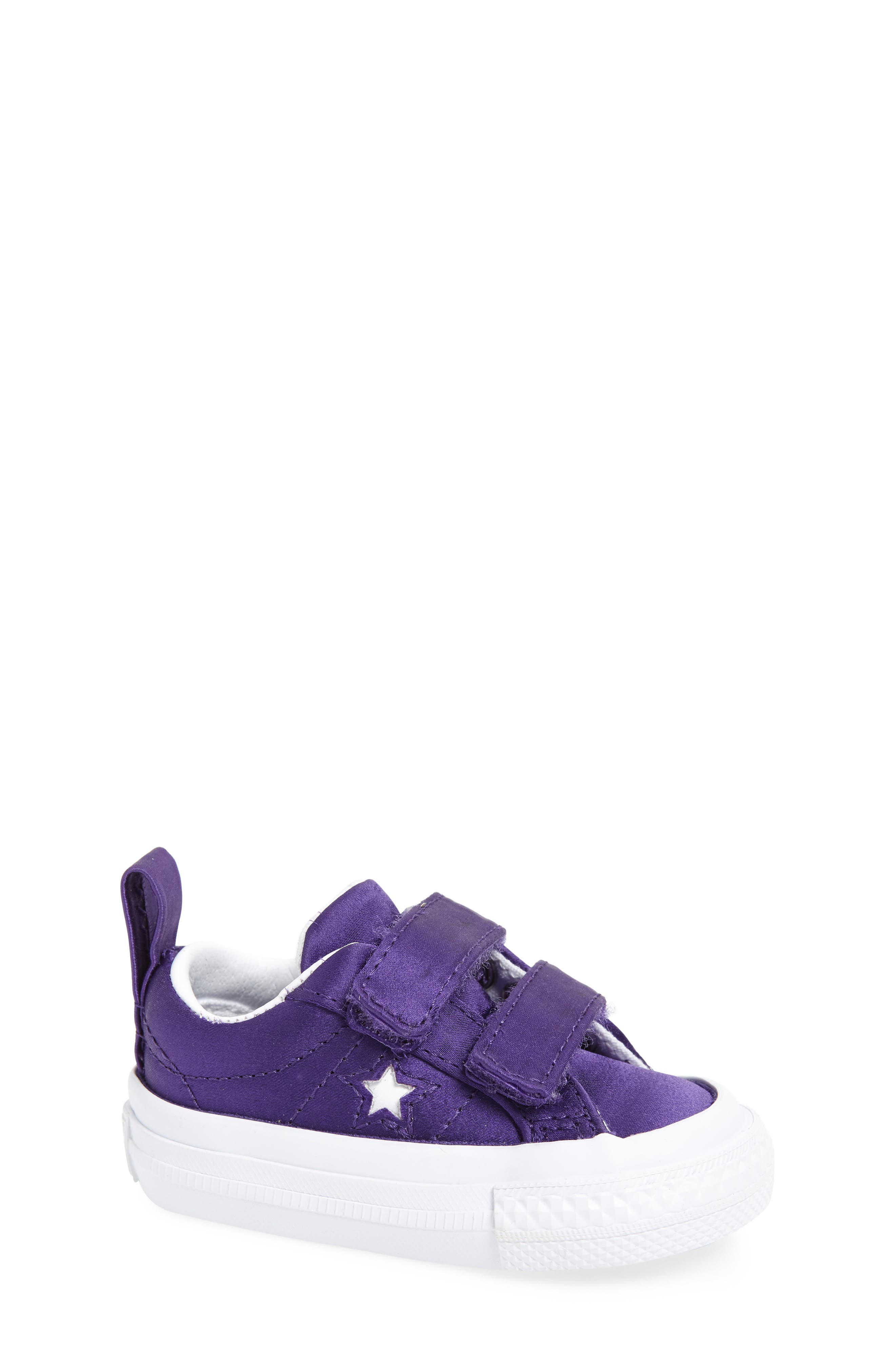 One Star Satin 2V Low Top Sneaker,                             Main thumbnail 1, color,                             Court Purple