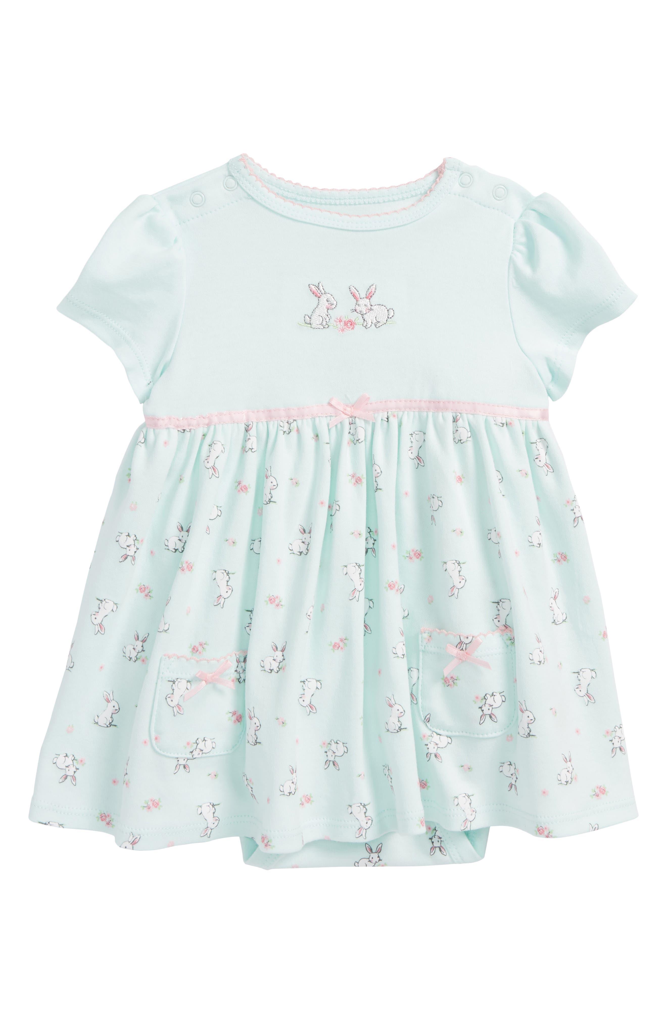 Main Image - Little Me Bunnies Skirted Bodysuit (Baby Girls)