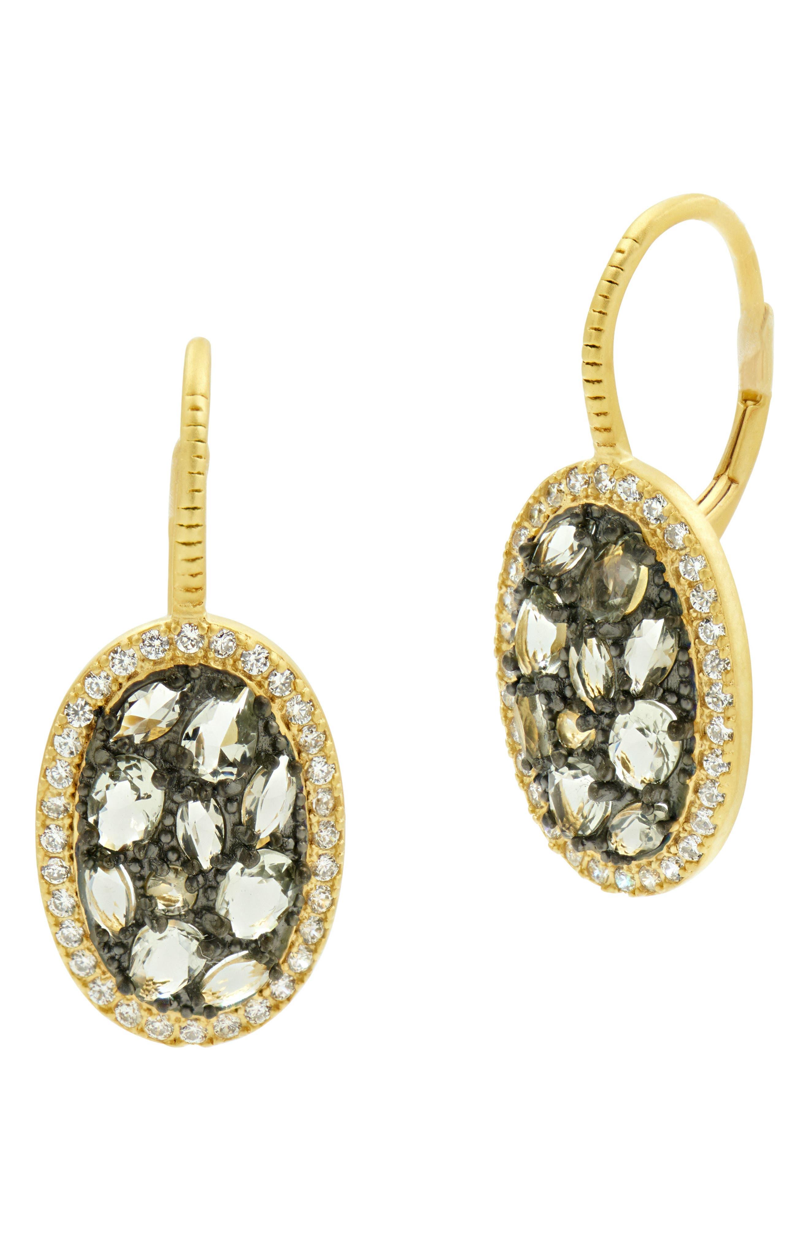 Rose Dor Stone Earrings,                         Main,                         color, Black/ Gold