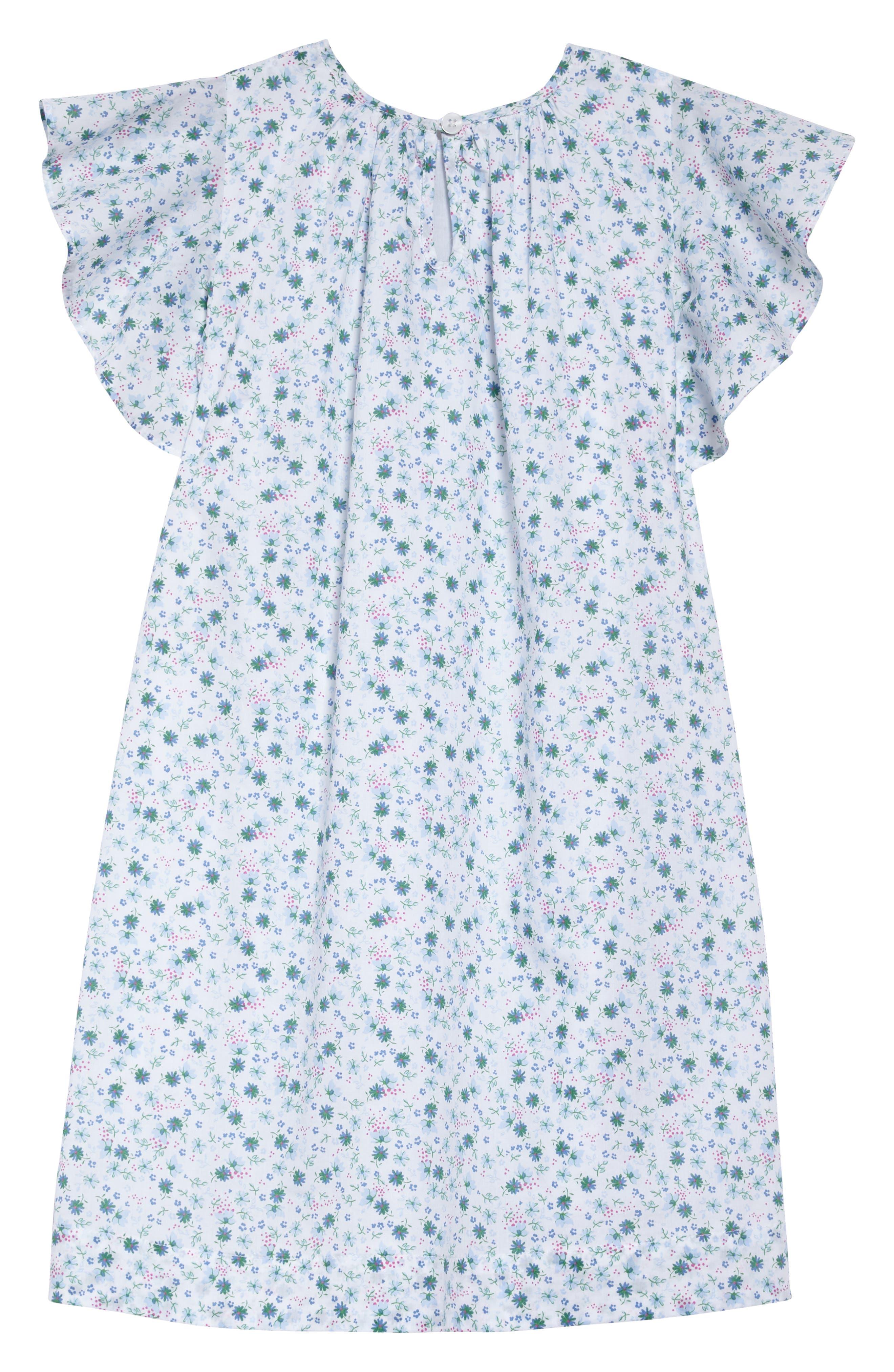 Floral Flutter Sleeve Dress,                             Alternate thumbnail 2, color,                             White Devon Floral