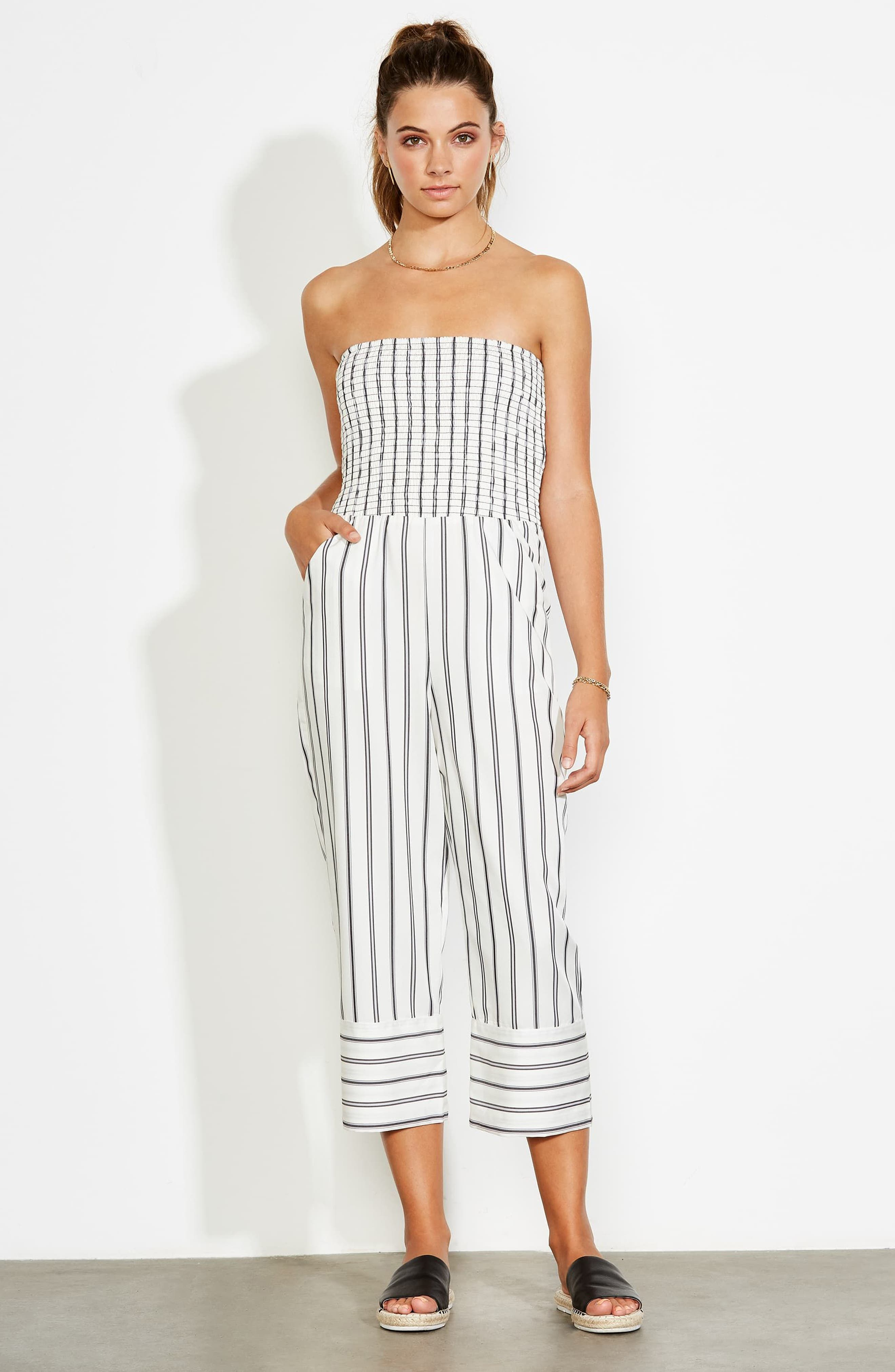 Get in the Grove Stripe Strapless Jumpsuit,                             Alternate thumbnail 8, color,
