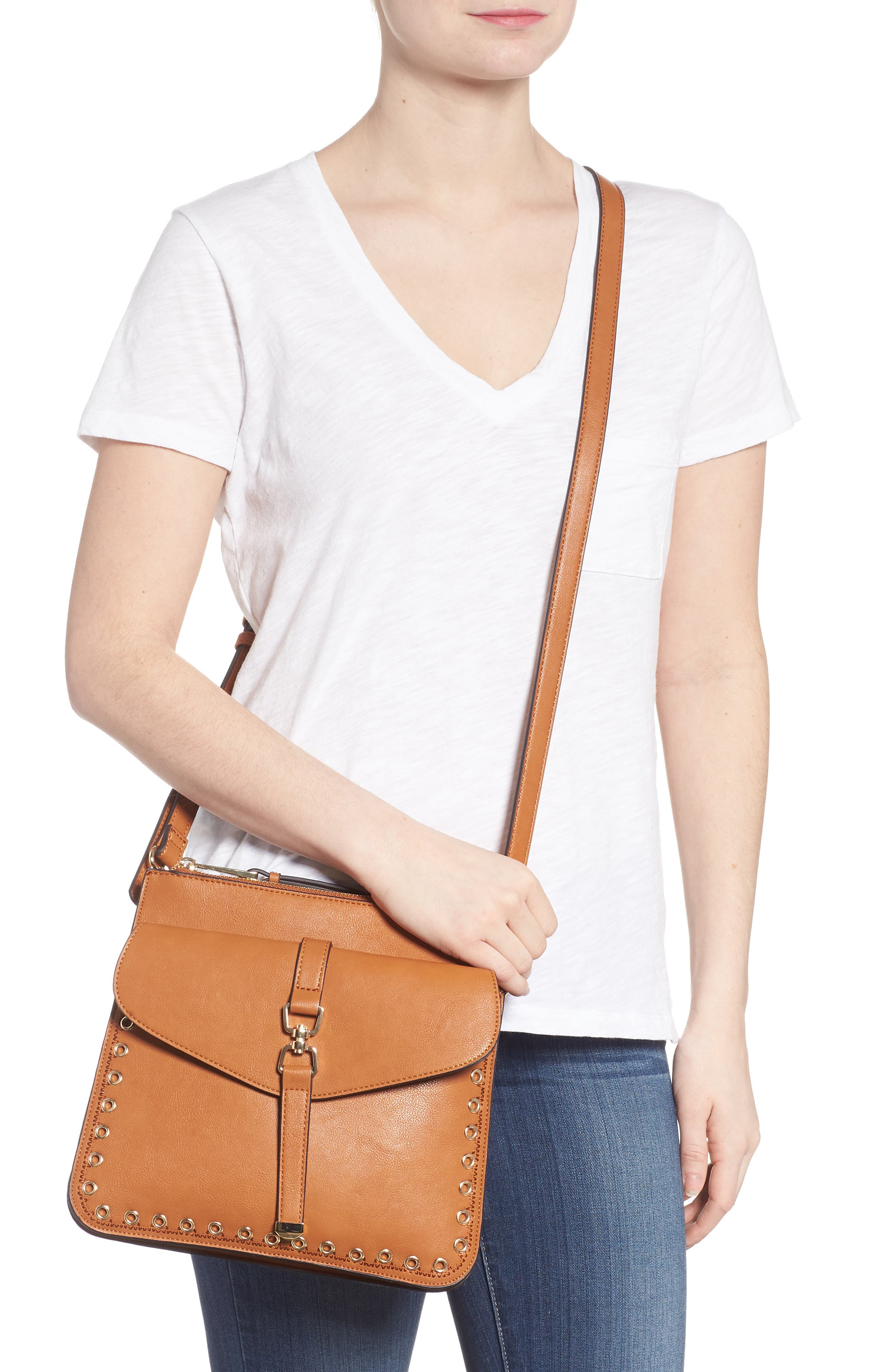 Front Pocket Faux Leather Crossbody Bag,                             Alternate thumbnail 2, color,                             Cognac