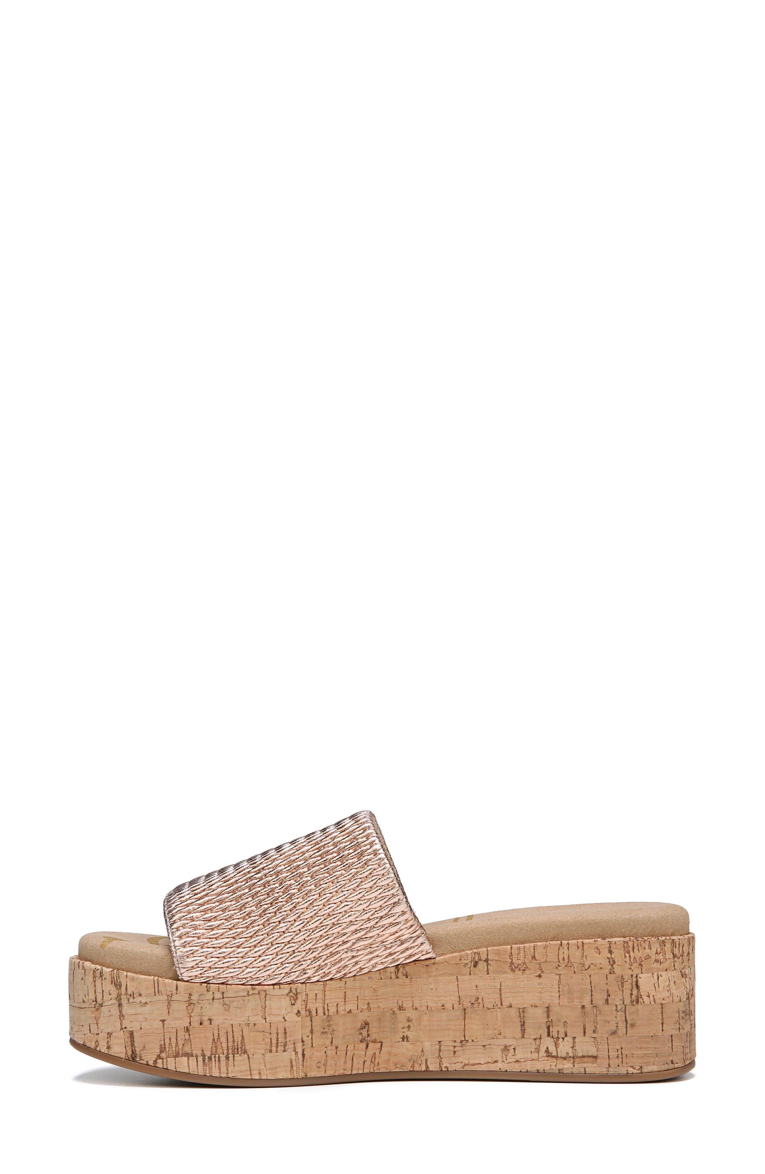 Wendi Platform Slide Sandal,                             Alternate thumbnail 3, color,                             Blush Gold Metallic Fabric