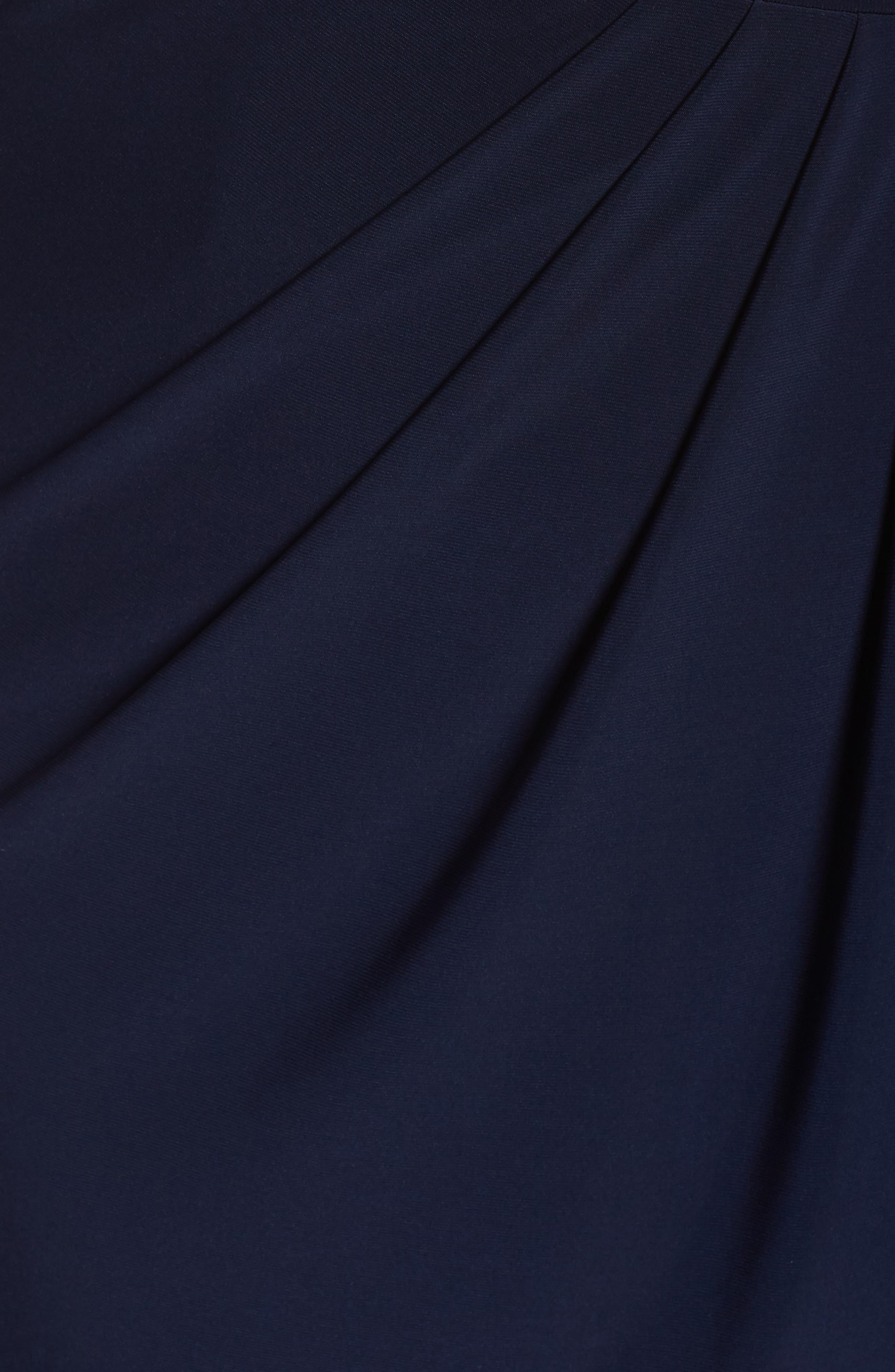 Beaded Faux Wrap Gown,                             Alternate thumbnail 5, color,                             Navy/ Gunmetal