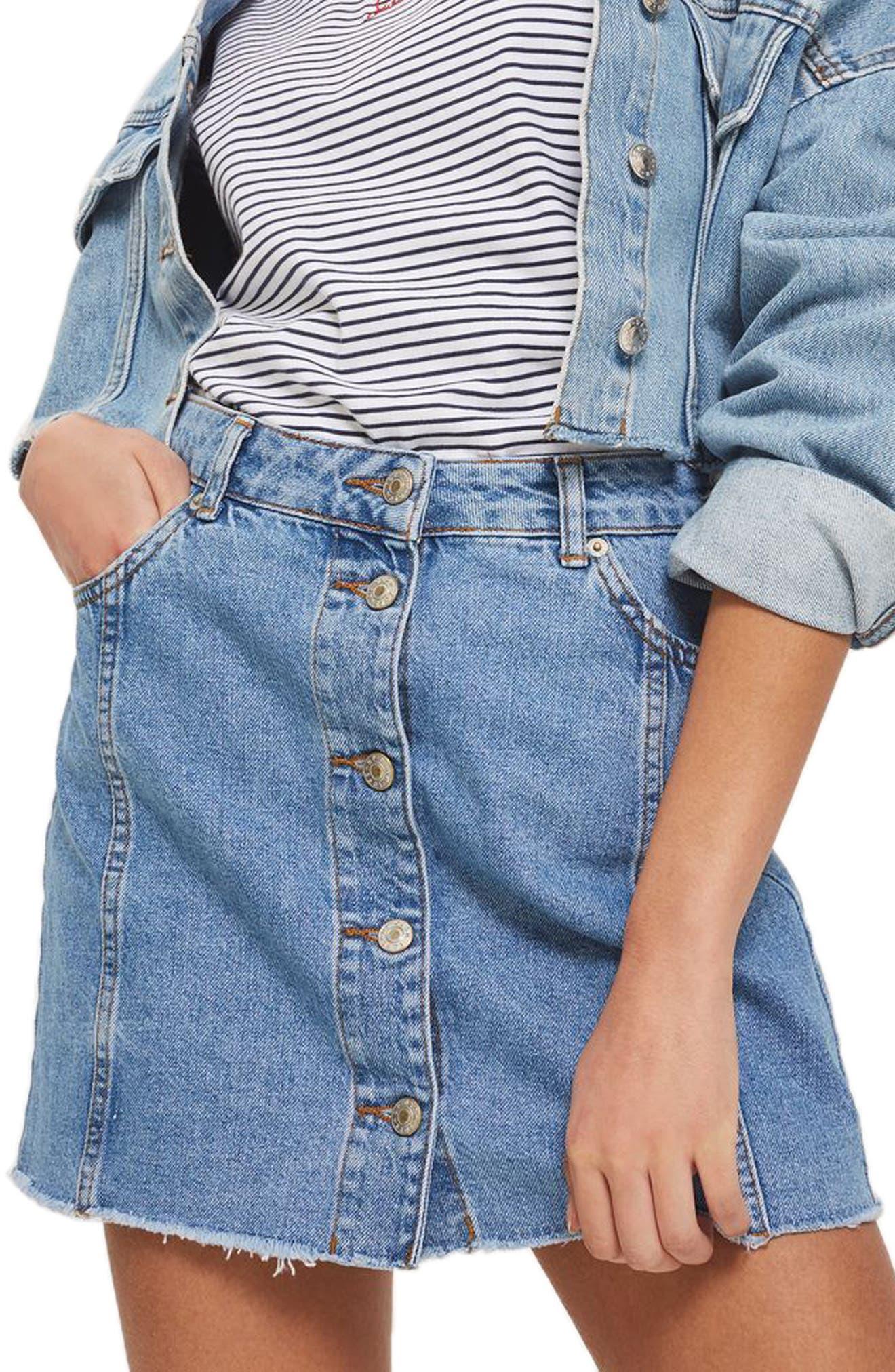 Button Denim Miniskirt,                         Main,                         color, Light Denim