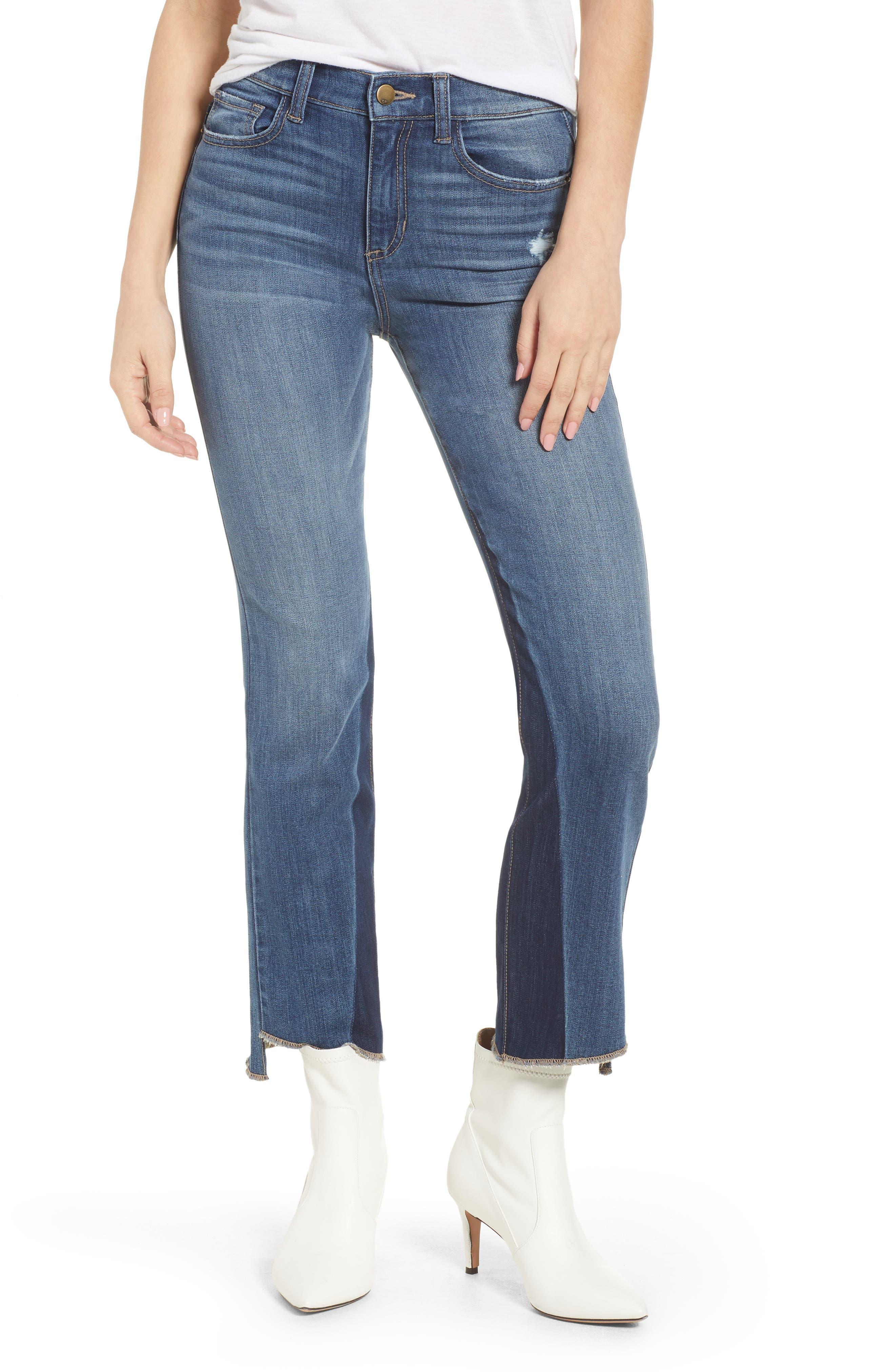 Step Hem Crop Flare Jeans,                             Main thumbnail 1, color,                             Med Wash