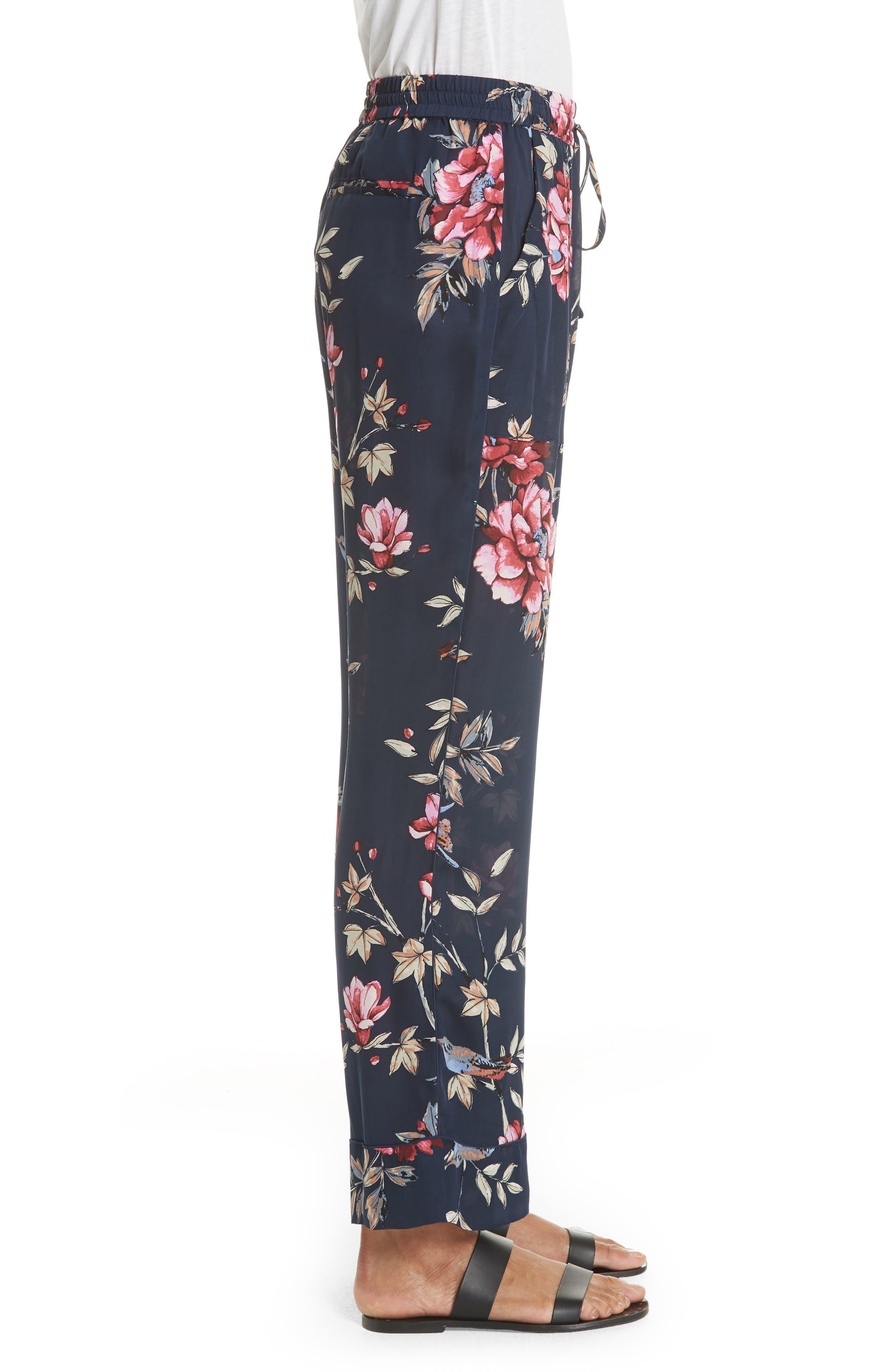Daltona Floral Silk Pants,                             Alternate thumbnail 3, color,                             Dark Navy