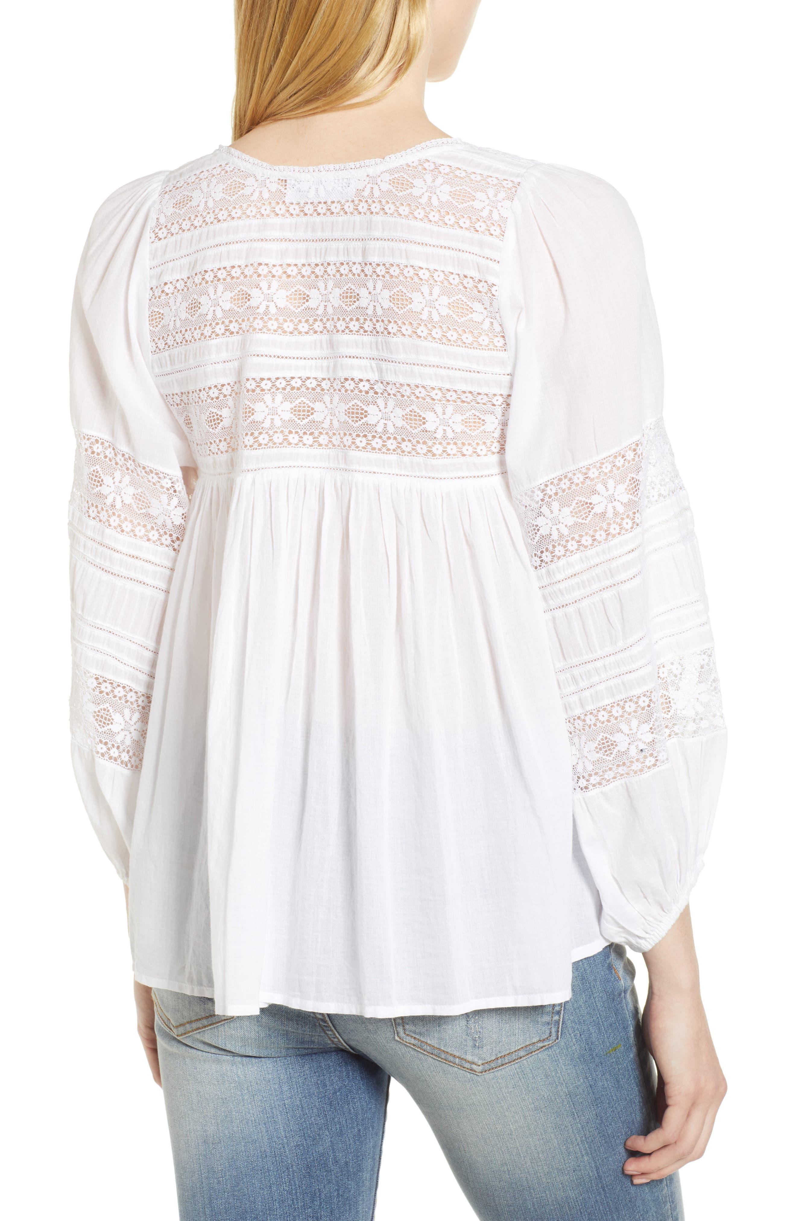 Cotton Lace Peasant Blouse,                             Alternate thumbnail 2, color,                             White